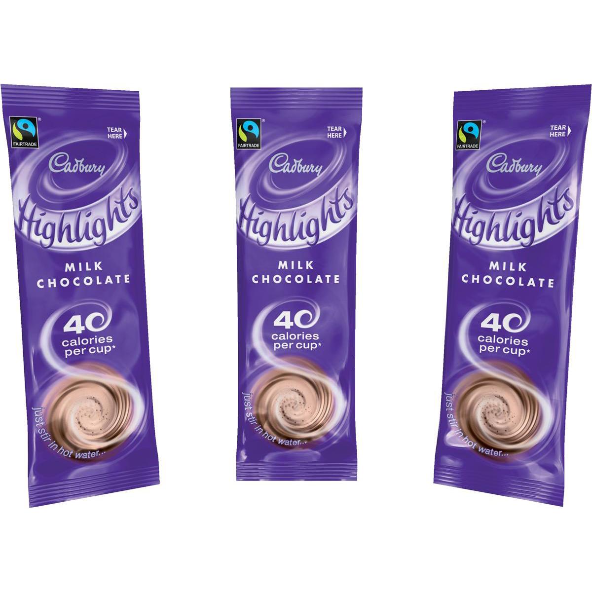 Cadbury Chocolate Highlights Fairtrade Hot Chocolate Powder Sachets Low Calorie Ref 0403173 [Pack 30]