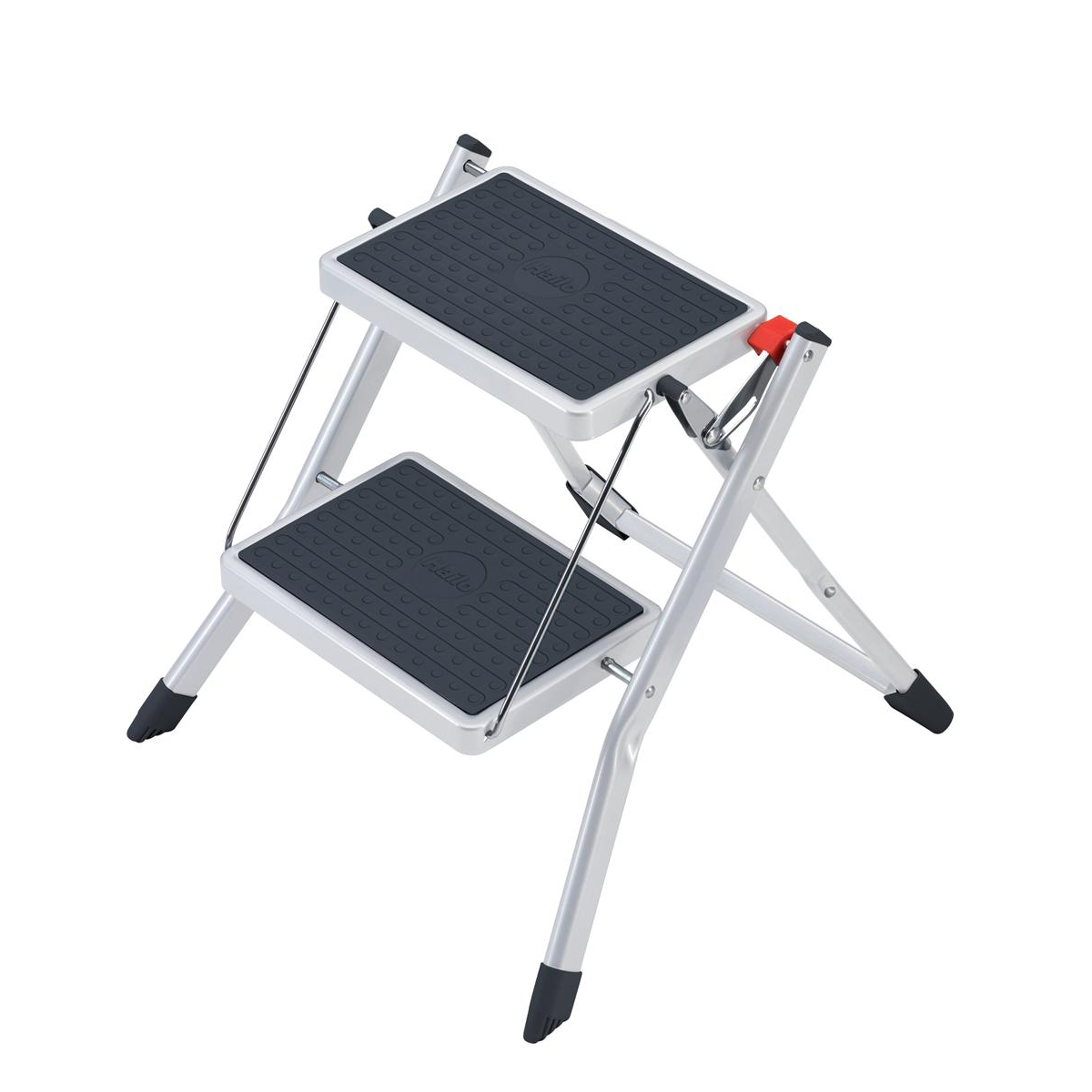 Image for 5 Star Facilities Mini Stool/Ladder Two Step Steel Folding Single Sided Load Capacity 150kg White