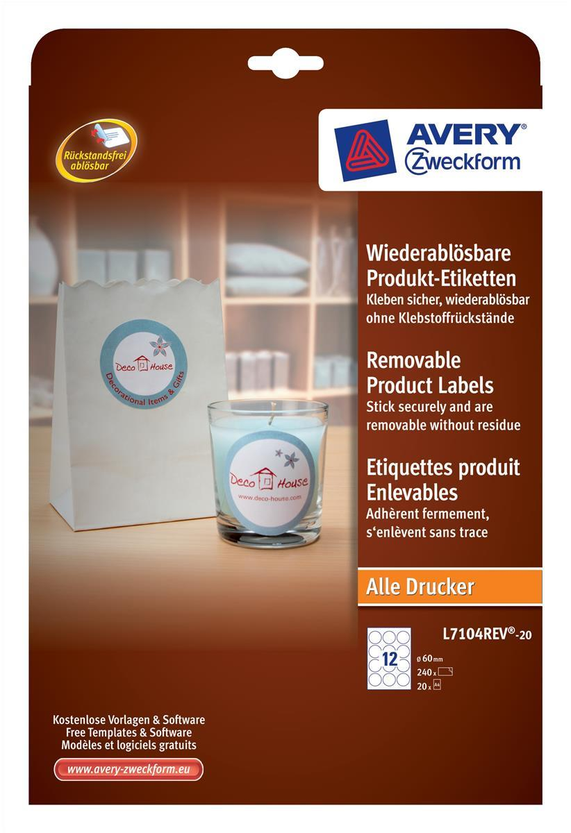 Avery White Round Product Label 60mm (Pack of 240) L710REV-20