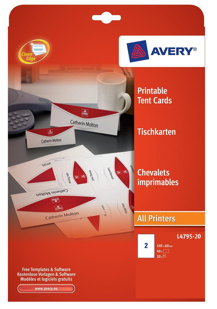 Avery Printable Business Tent Card 2 per Sheet 180x60mm White 190gsm Ref L4795-20 [40 labels]