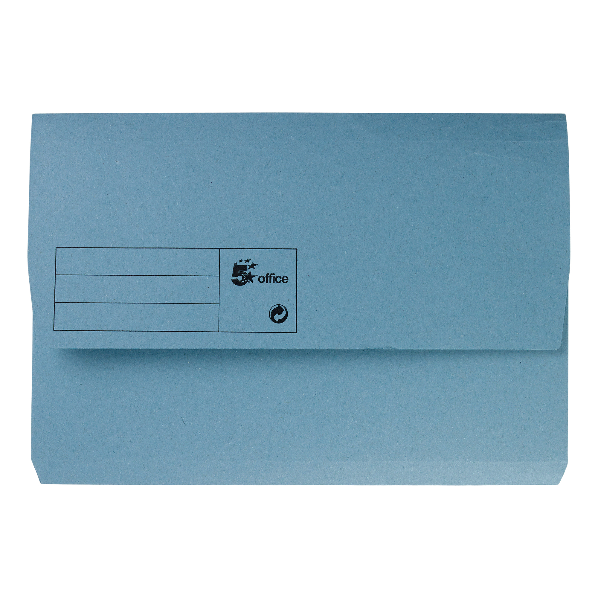 5 Star Office Document Wallet Half Flap 285gsm Recycled Capacity 32mm Foolscap Blue [Pack 50]