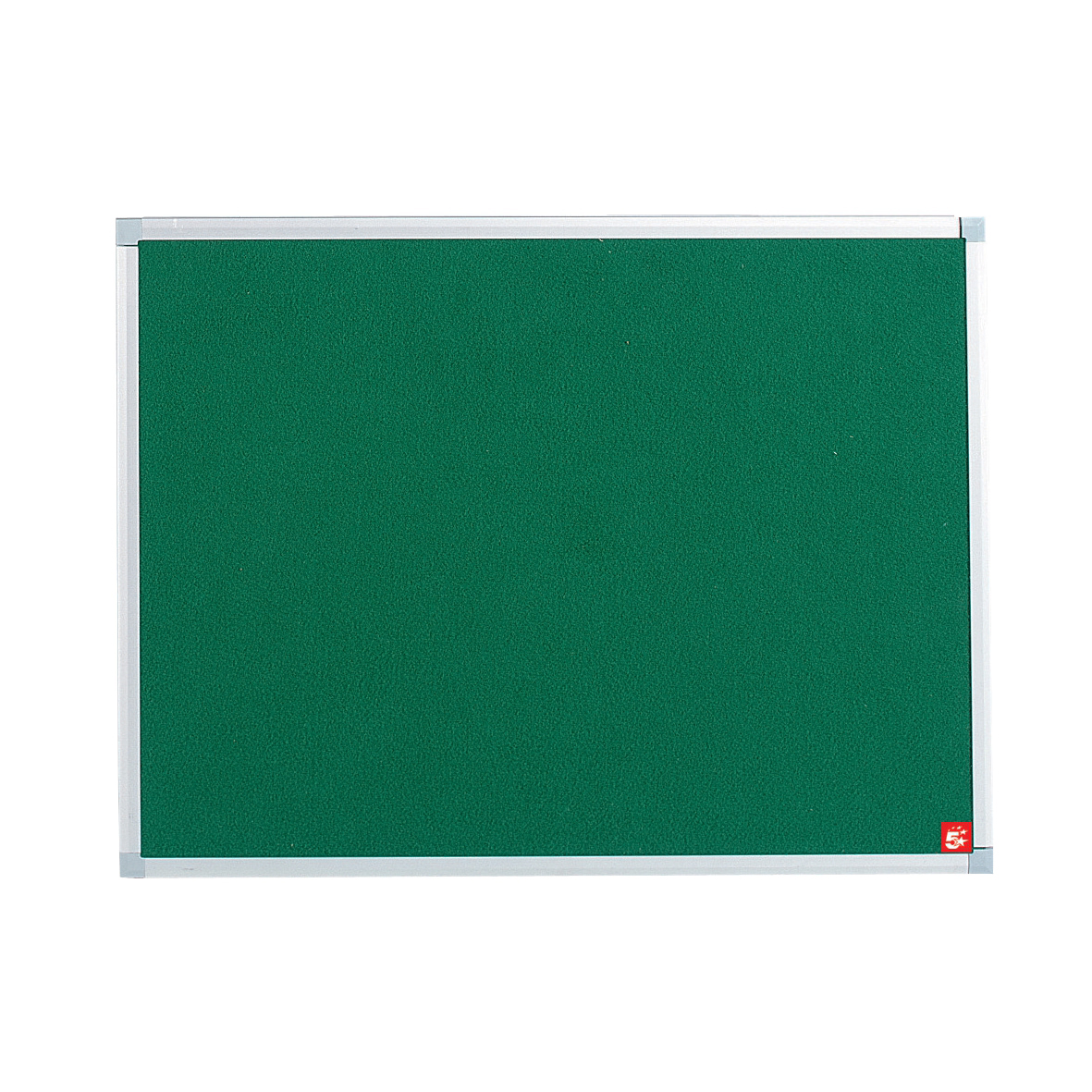 5 Star Office Noticeboard with Fixings and Aluminium Trim W900xH600mm Green
