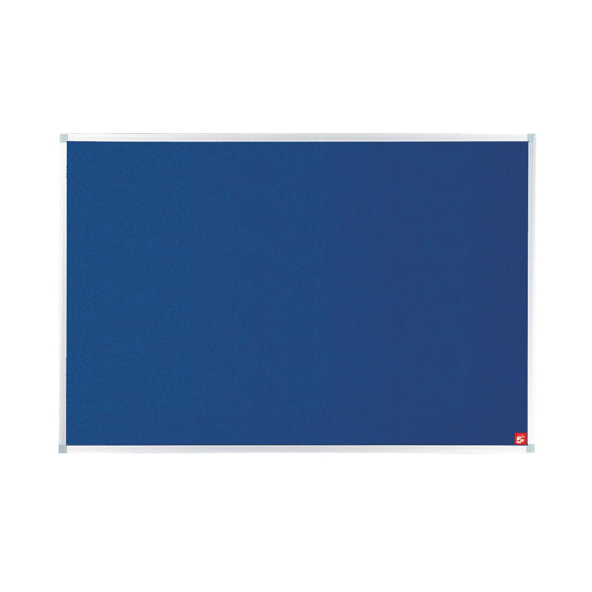 5 Star Office Felt Noticeboard with Fixings and Aluminium Trim W1200x900mm Blue