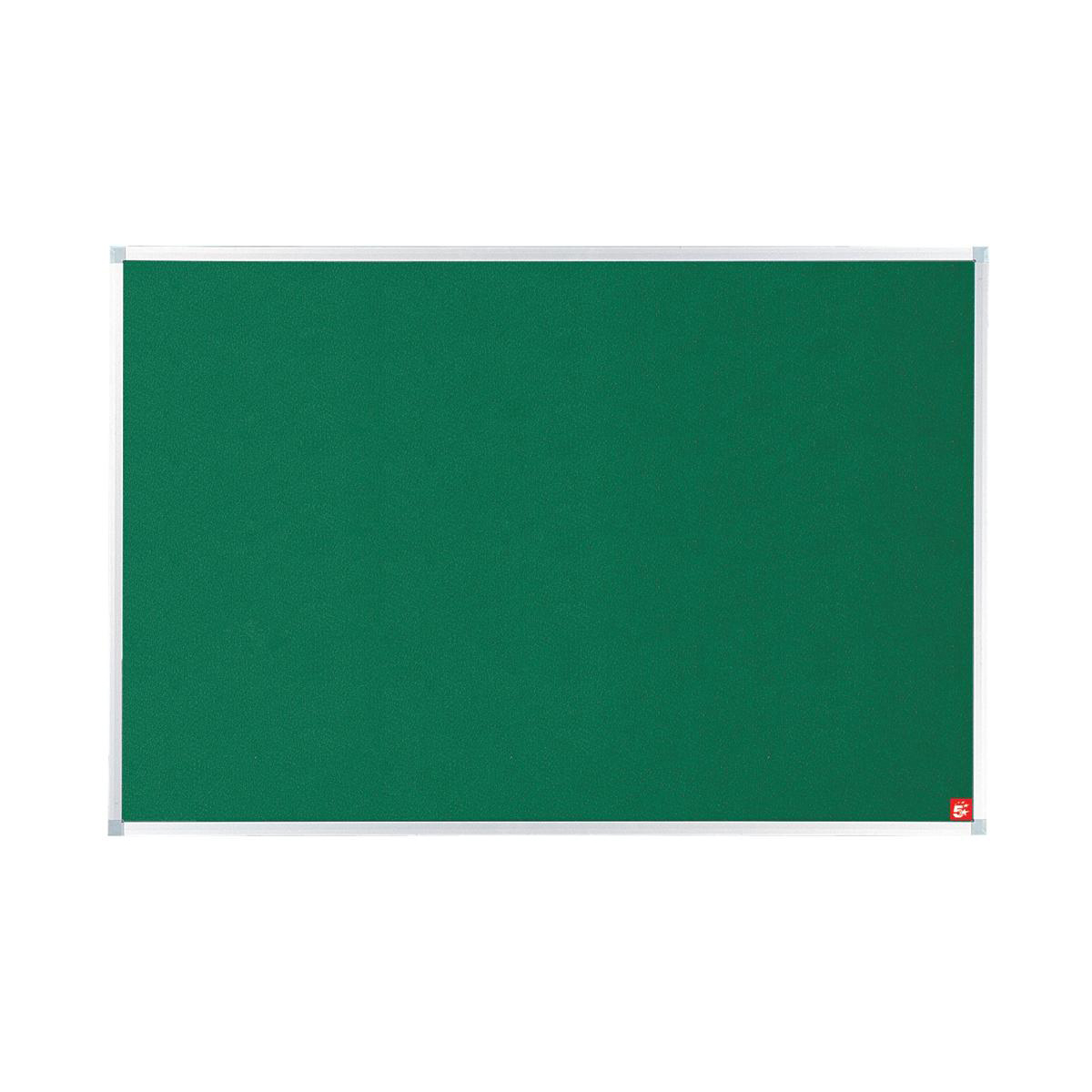5 Star Office Felt Noticeboard with Fixings and Aluminium Trim W1200xH900mm Green
