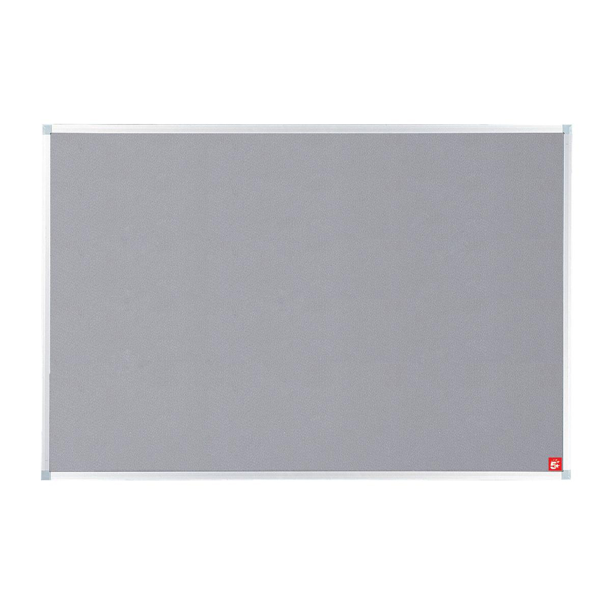 5 Star Office Noticeboard with Fixings and Aluminium Trim W1200xH900mm Grey