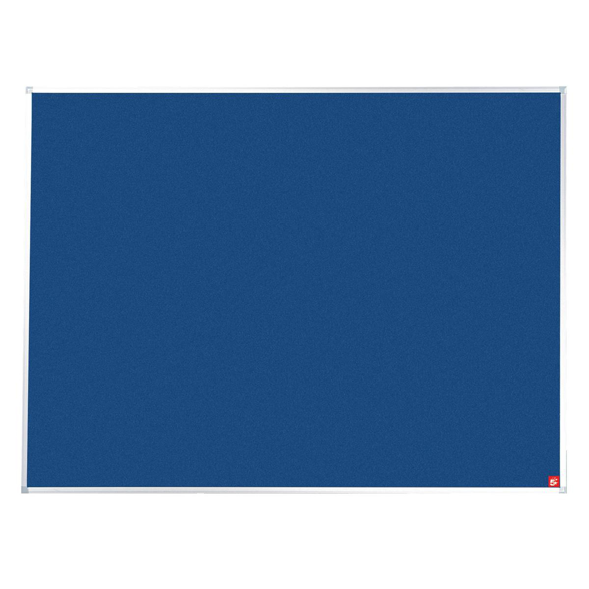 5 Star Office Noticeboard with Fixings and Aluminium Trim W1800xH1200mm Blue