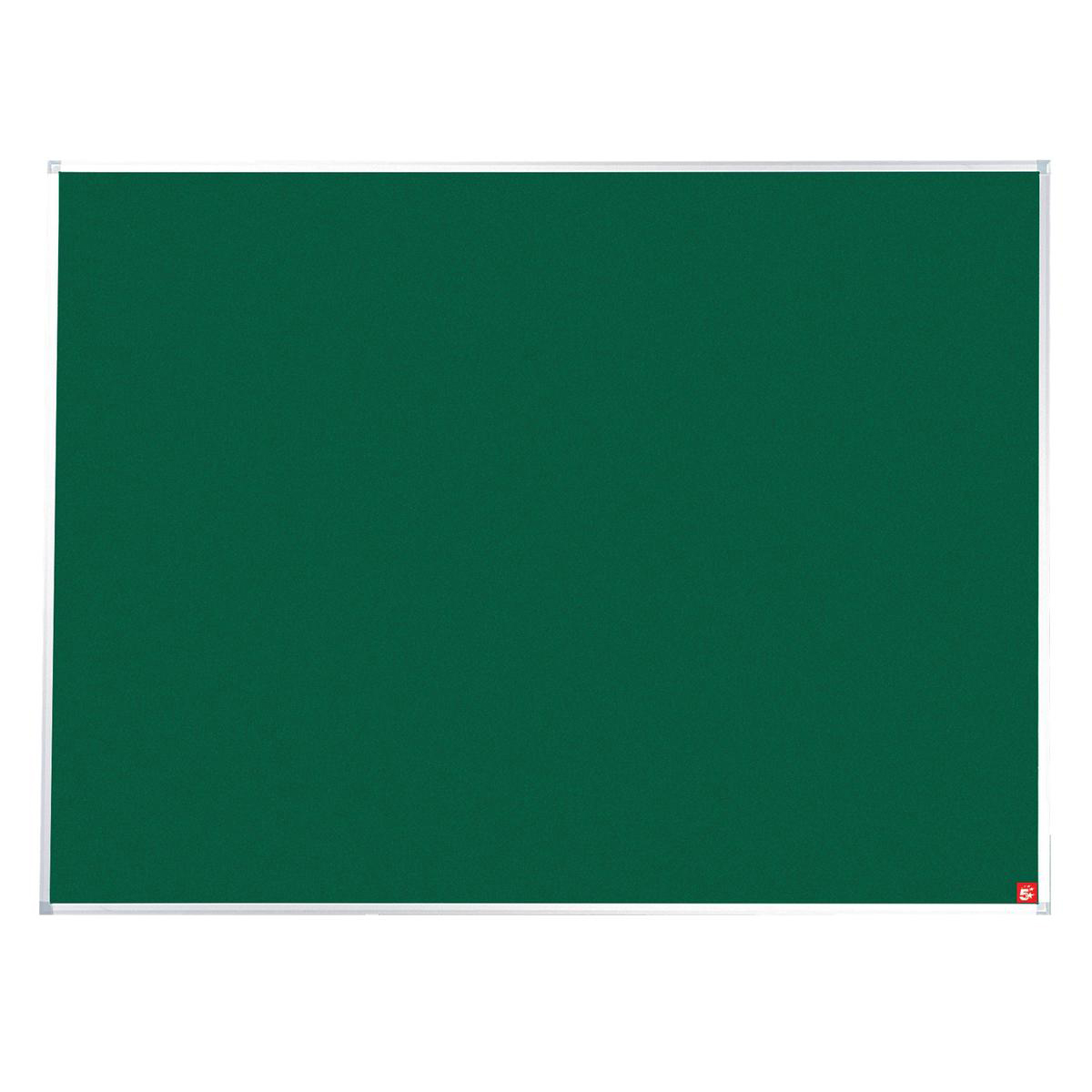 5 Star Office Noticeboard with Fixings and Aluminium Trim W1800xH1200mm Green
