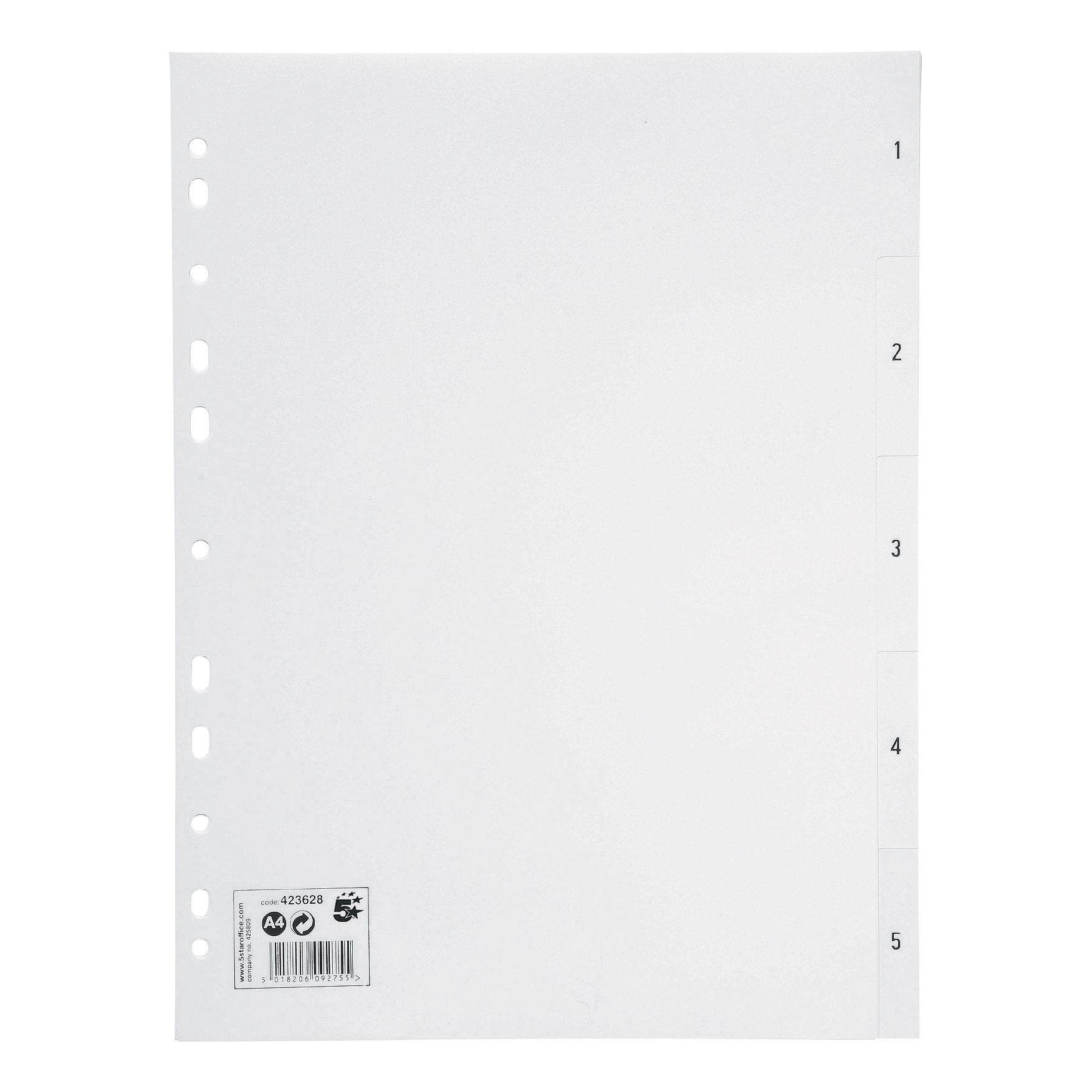 5 Star Office Index 1-5 Polypropylene Multipunched Reinforced Holes 130 Micron A4 White