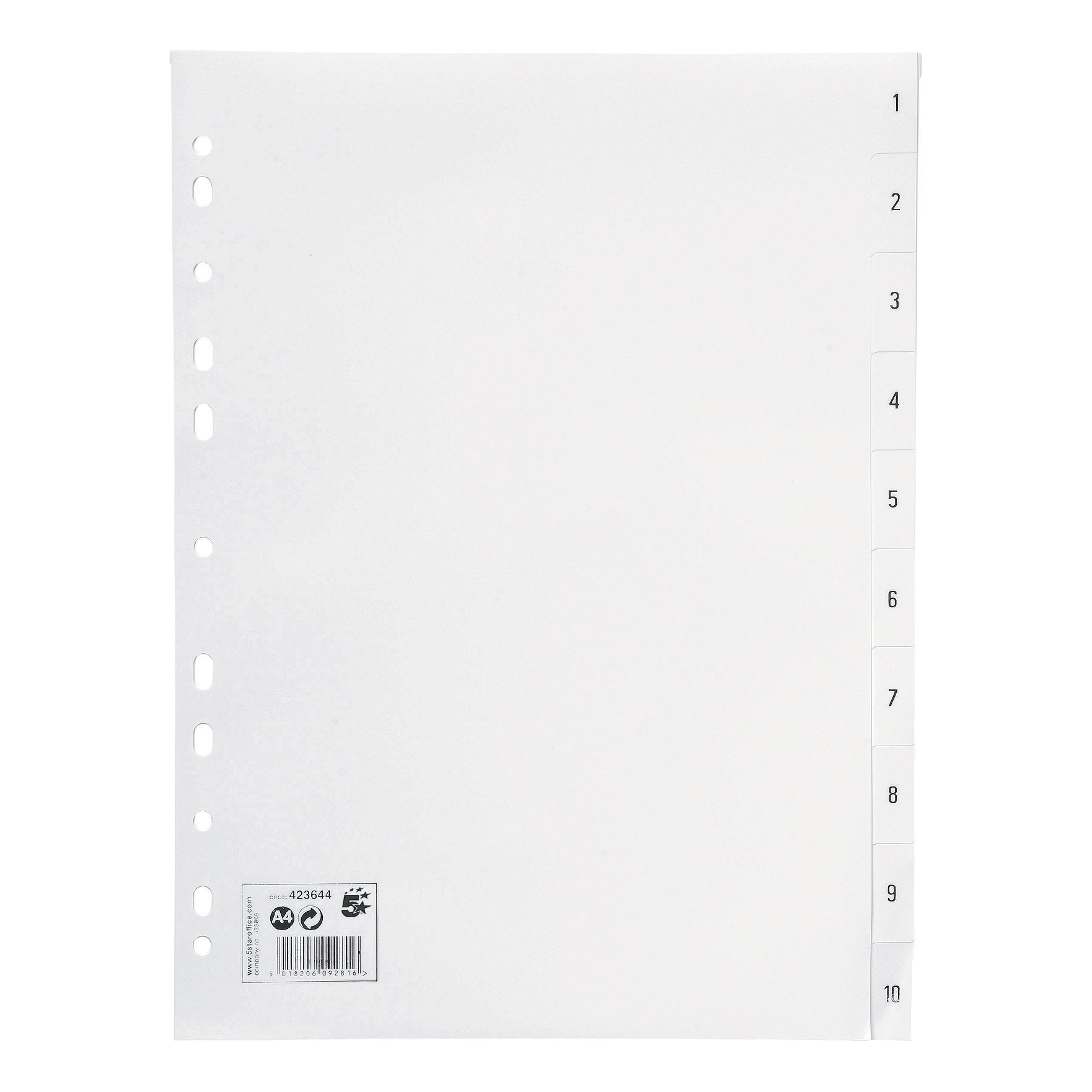 5 Star Office Index Multipunched 130 micron Polypropylene 1-10 A4 White