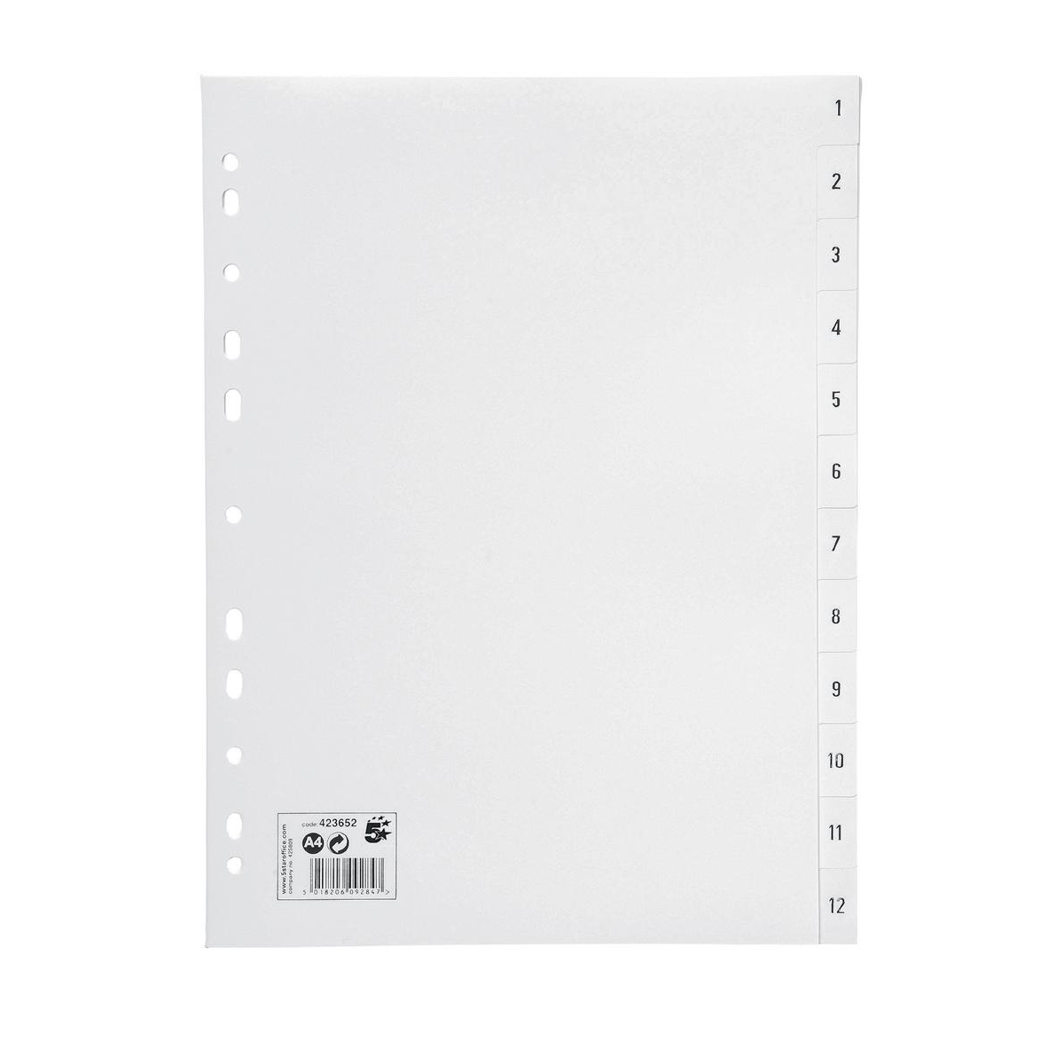 5 Star Office Index 1-12 Polypropylene Multipunched Reinforced Holes 130 Micron A4 White
