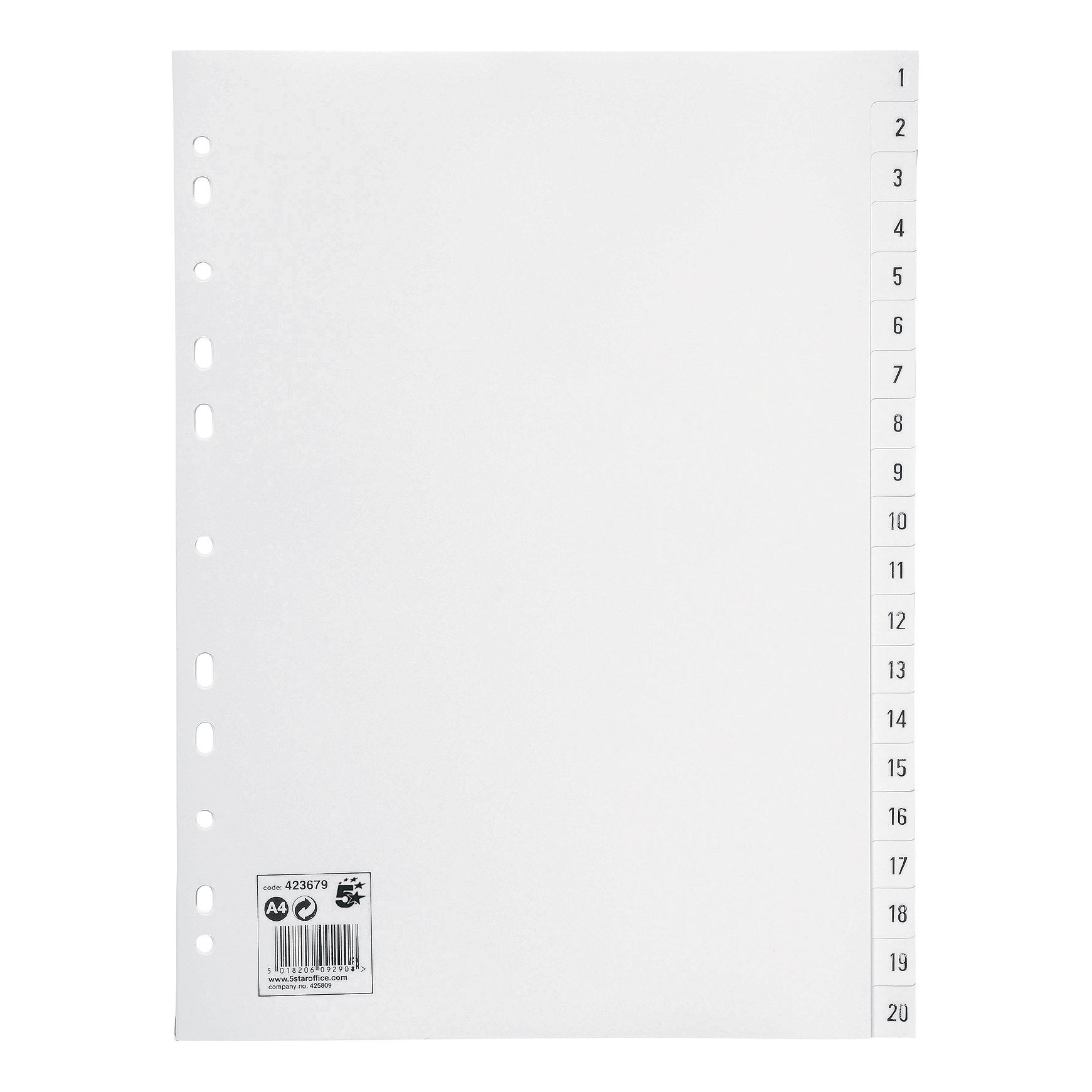 5 Star Office Index Multipunched 130 micron Polypropylene 1-20 A4 White
