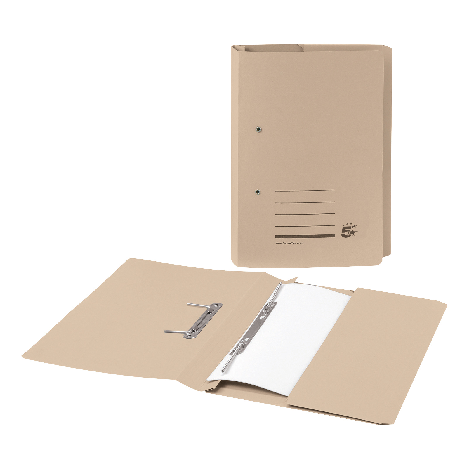 5 Star Office Transfer Spring Pocket File Recycled 285gsm Capacity 38mm Foolscap Buff [Pack 25]