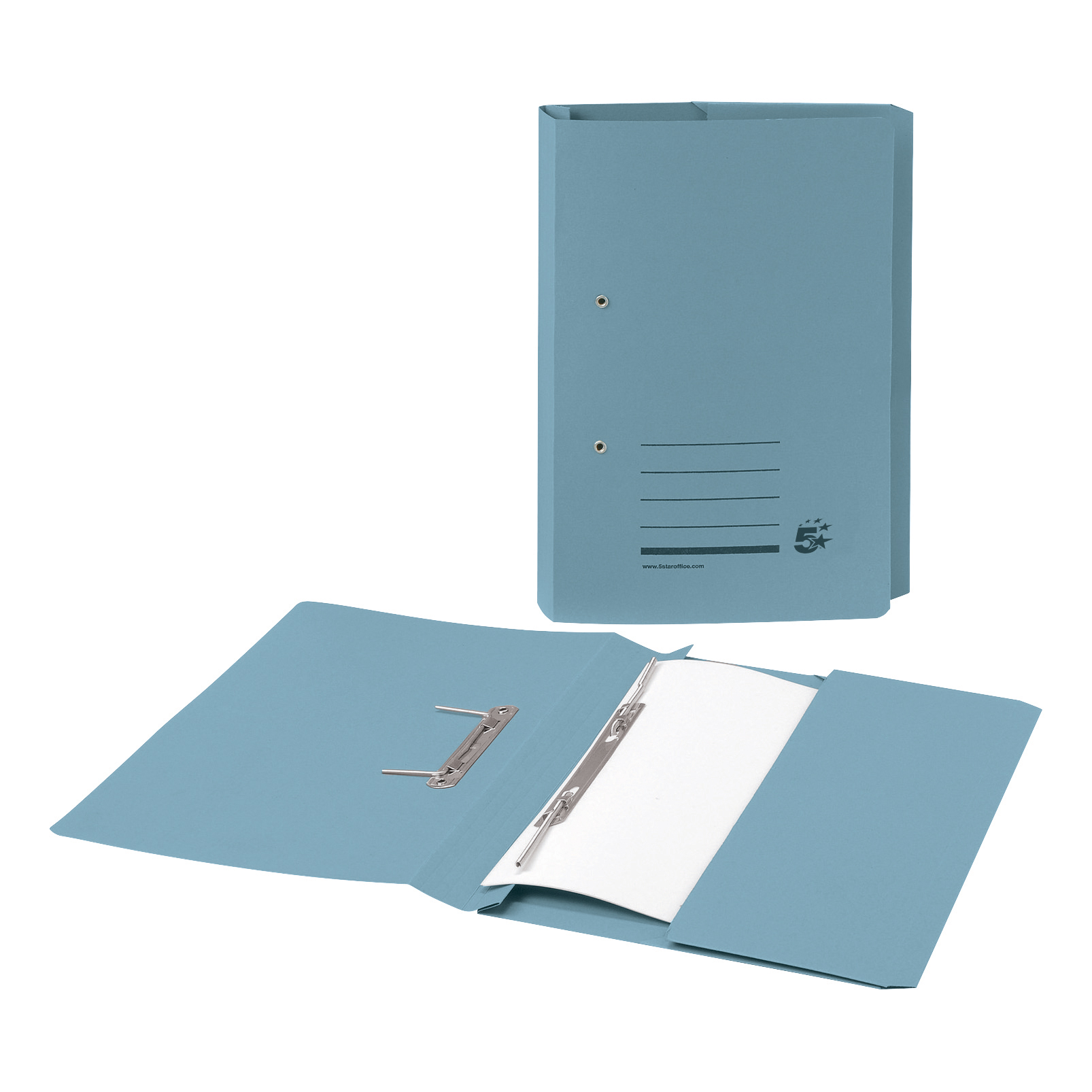 Image for 5 Star Transfer Spring File with Pocket 285gsm 38mm Foolscap Blue [Pack 25]