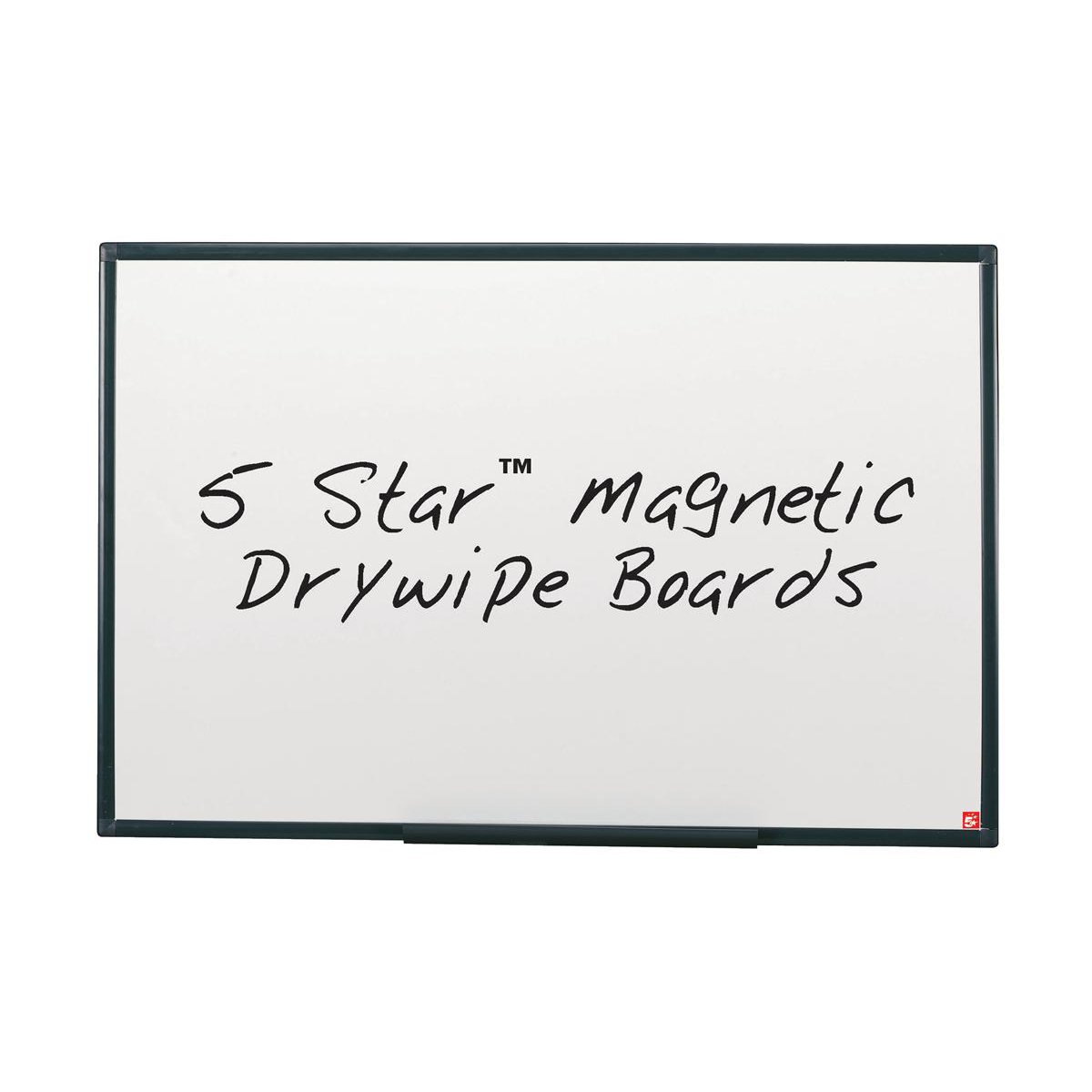 5 Star Office Drywipe Board Magnetic Lightweight with Fixing Kit and Pen Tray 1800x1200mm