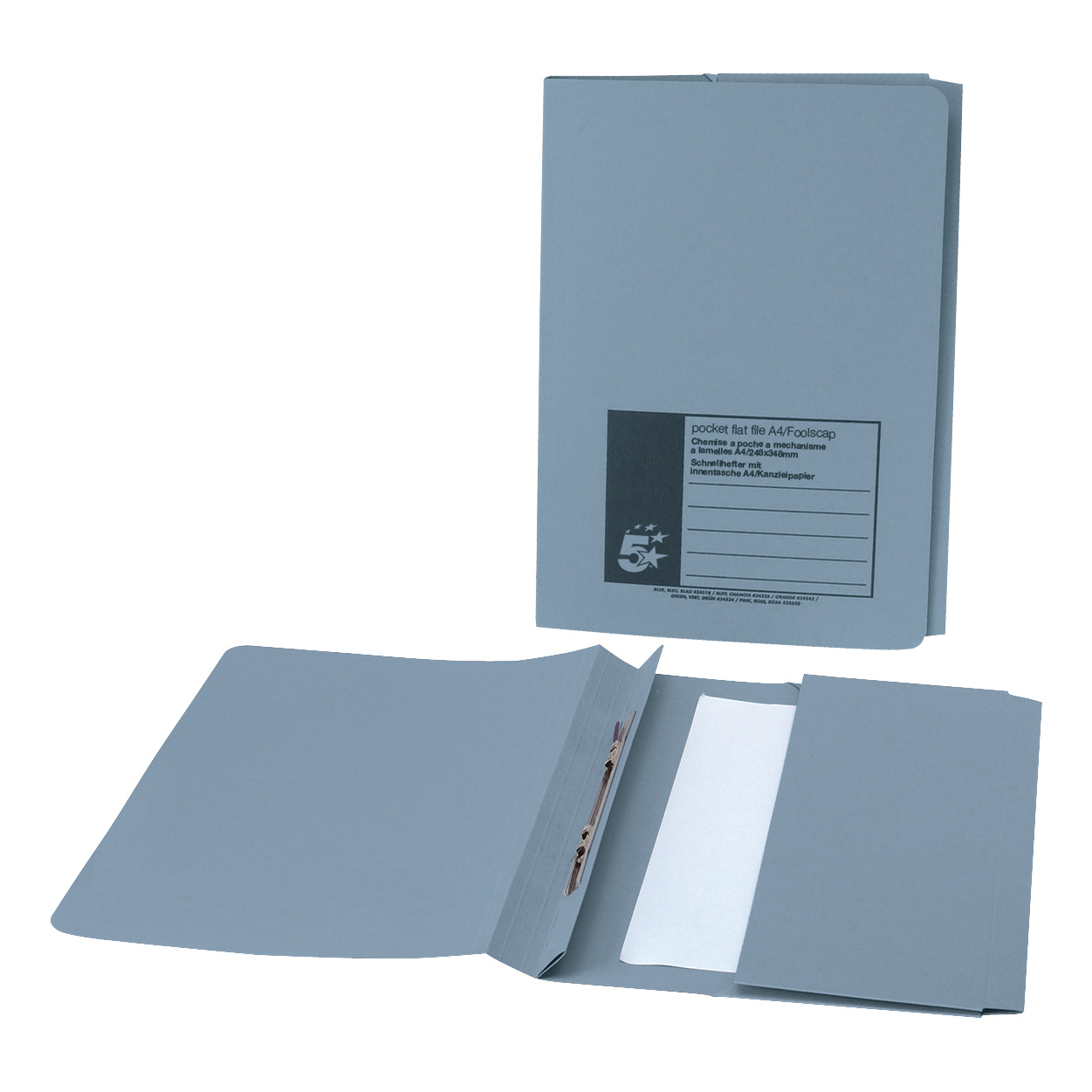 5 Star Office Flat Bar Pocket File Recycled Manilla 285gsm Capacity 38mm Foolscap Blue [Pack 25]