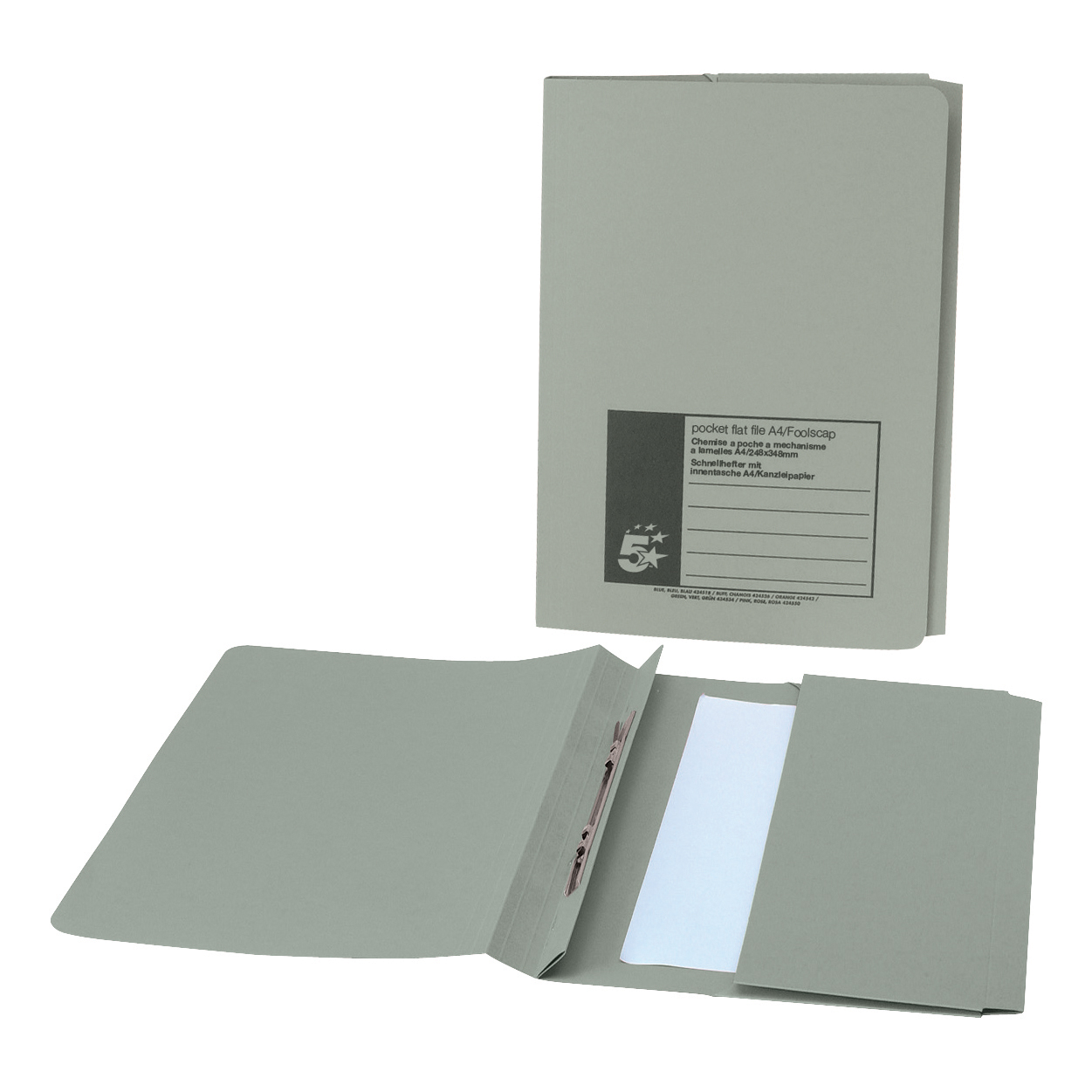 5 Star Office Flat Bar Pocket File Recycled Manilla 285gsm Capacity 38mm Foolscap Green [Pack 25]