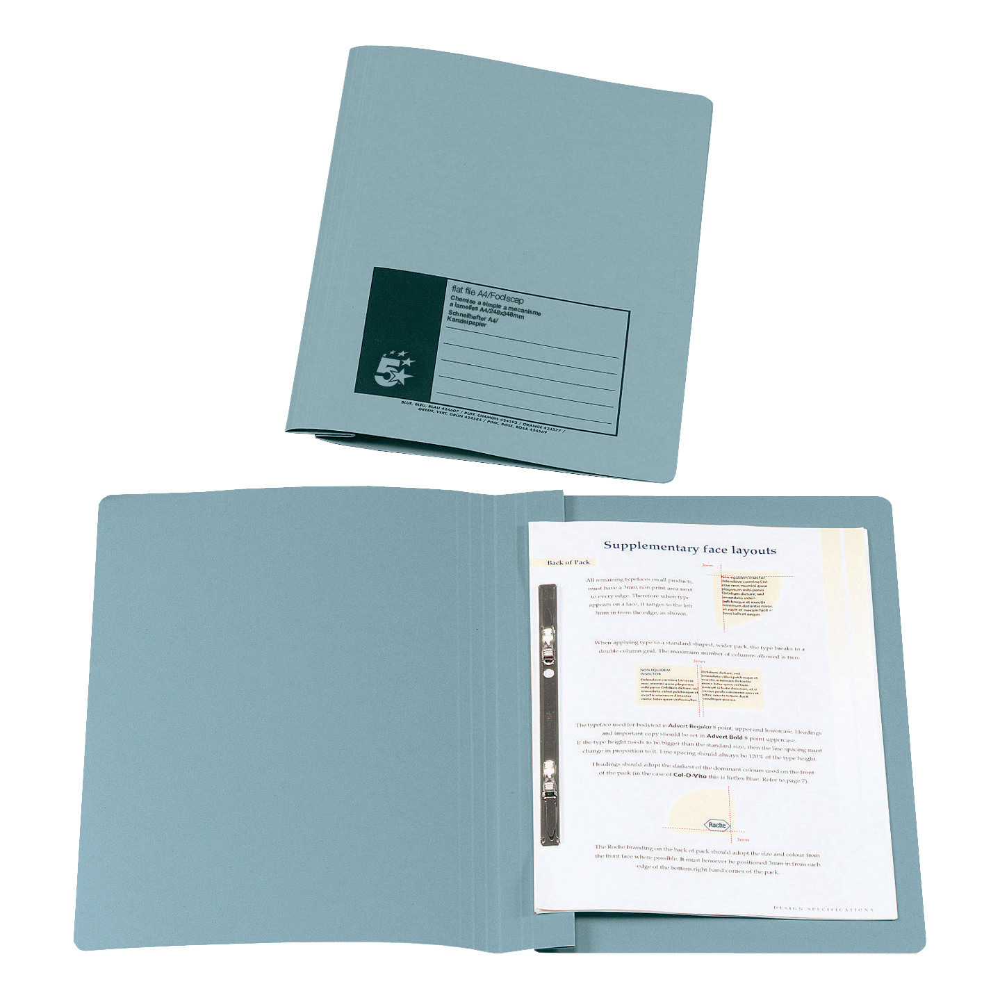 5 Star Office Flat File Recycled Manilla 315gsm 38mm Foolscap Blue