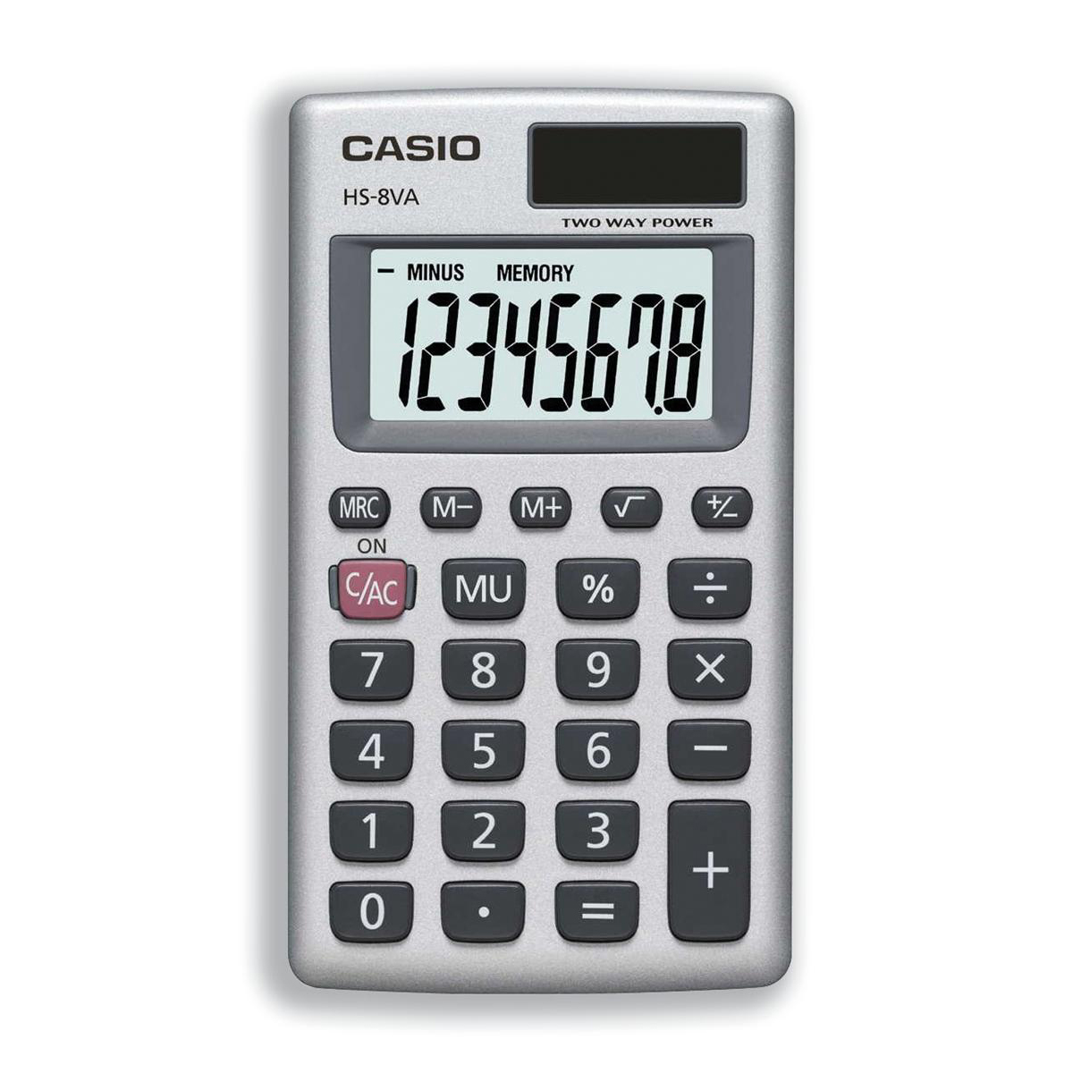 Image for Casio Handheld Calculator 8 Digit 3 Key Memory Solar and Battery Power 57x7x102mm Silver Ref HS8V-S-U-H (0)