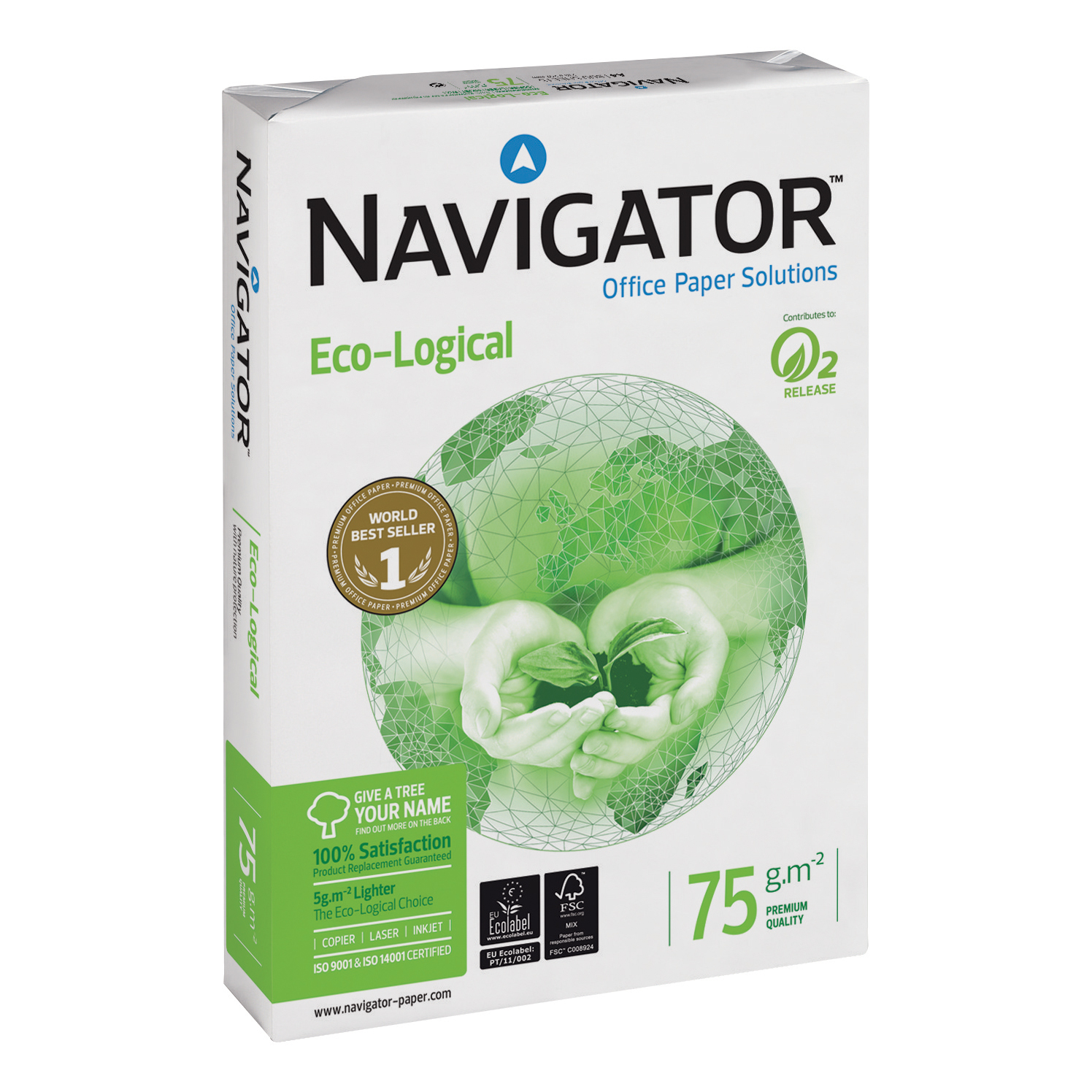 Navigator Eco-logical Paper Ream-Wrapped 75gsm A4 White Ref NEC0750012 [5 x 500 Sheets]