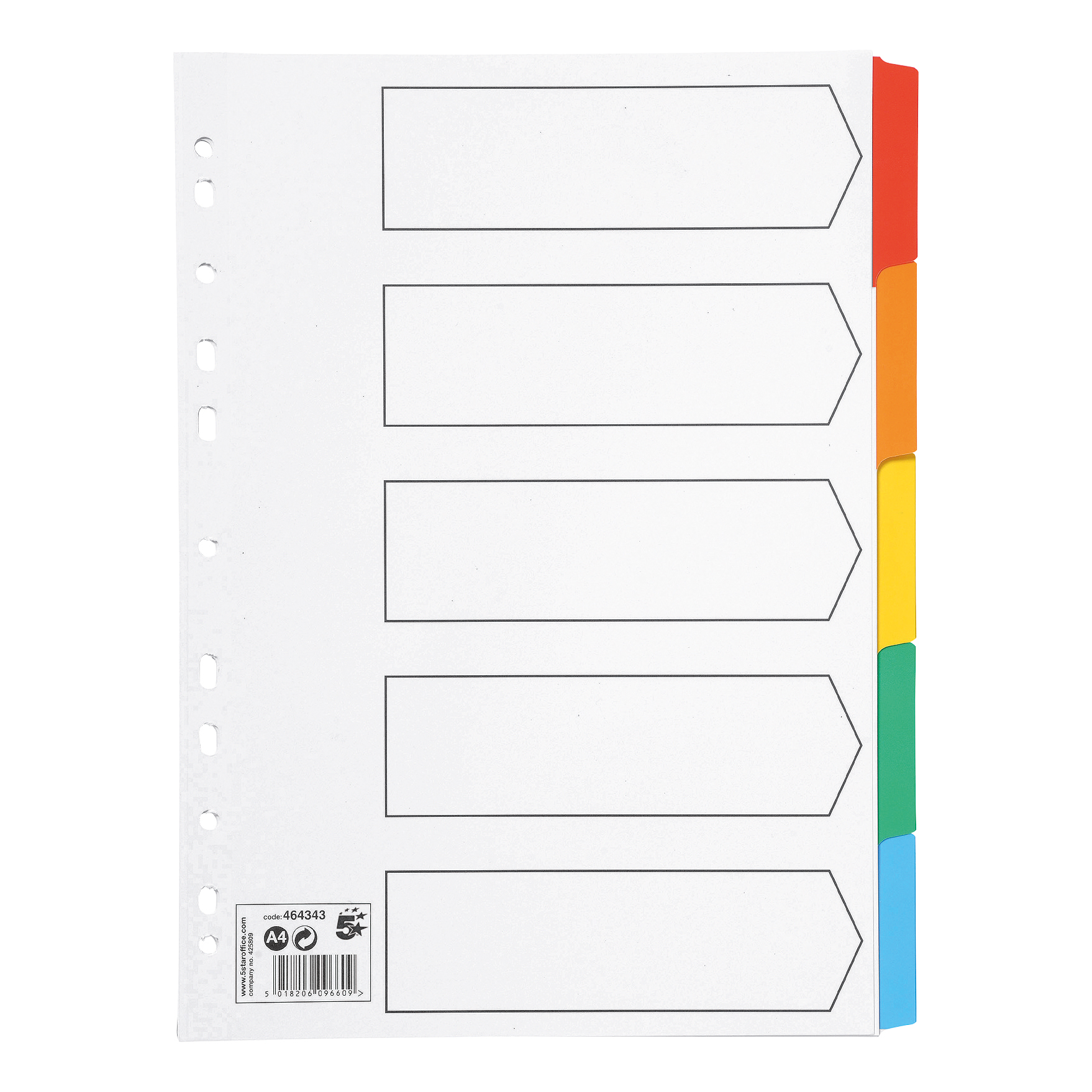 5 Star Office Index 150gsm Card with Coloured Mylar Tabs 5-Part A4 White