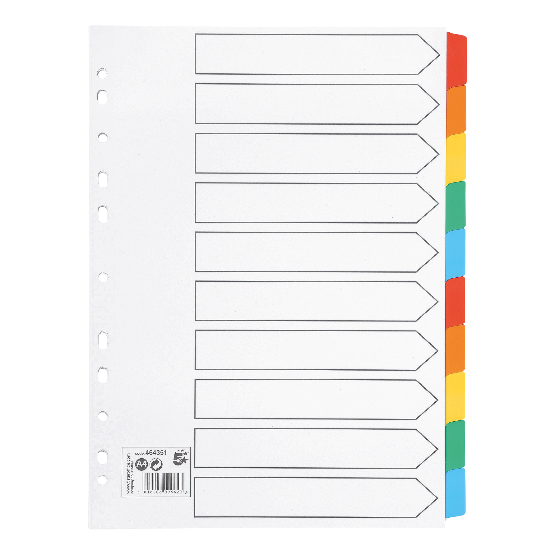 5 Star Office Subject Dividers 10-Part Multipunched Mylar-reinforced Multicolour-Tabs 150gsm A4 Whites