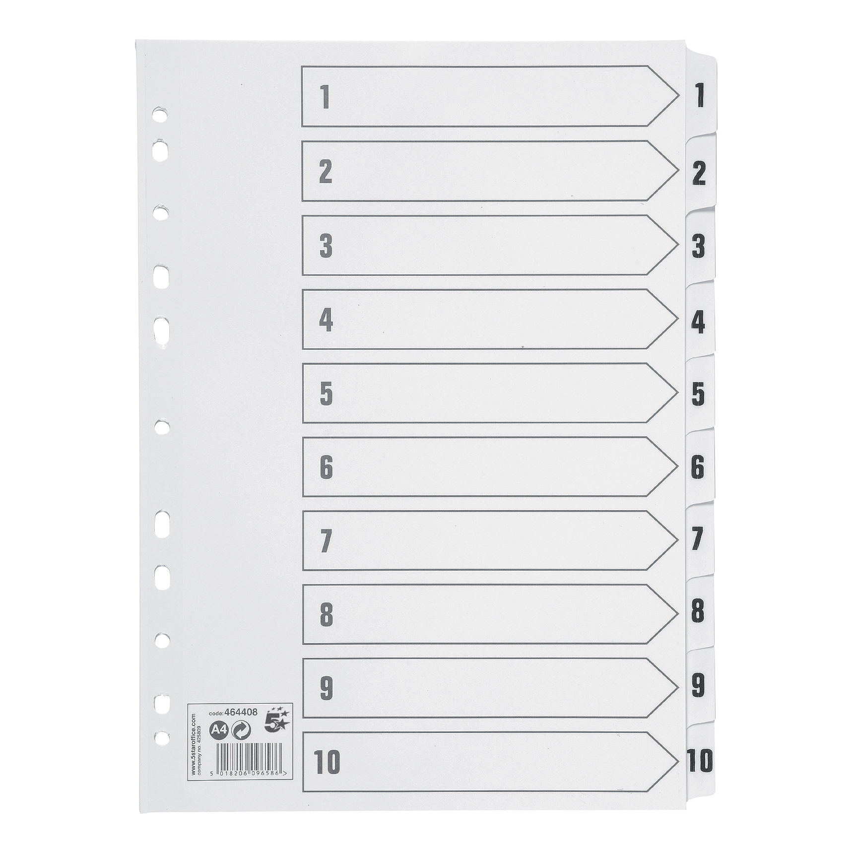 5 Star Office Index 150gsm Card with Mylar Tabs 1-10 A4 White