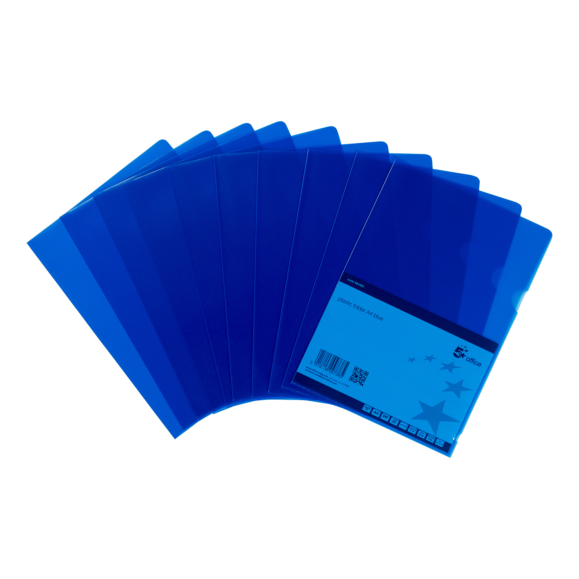 5 Star Office Folder Cut Flush Polypropylene Copy-safe Translucent A4 Blue Pack 25