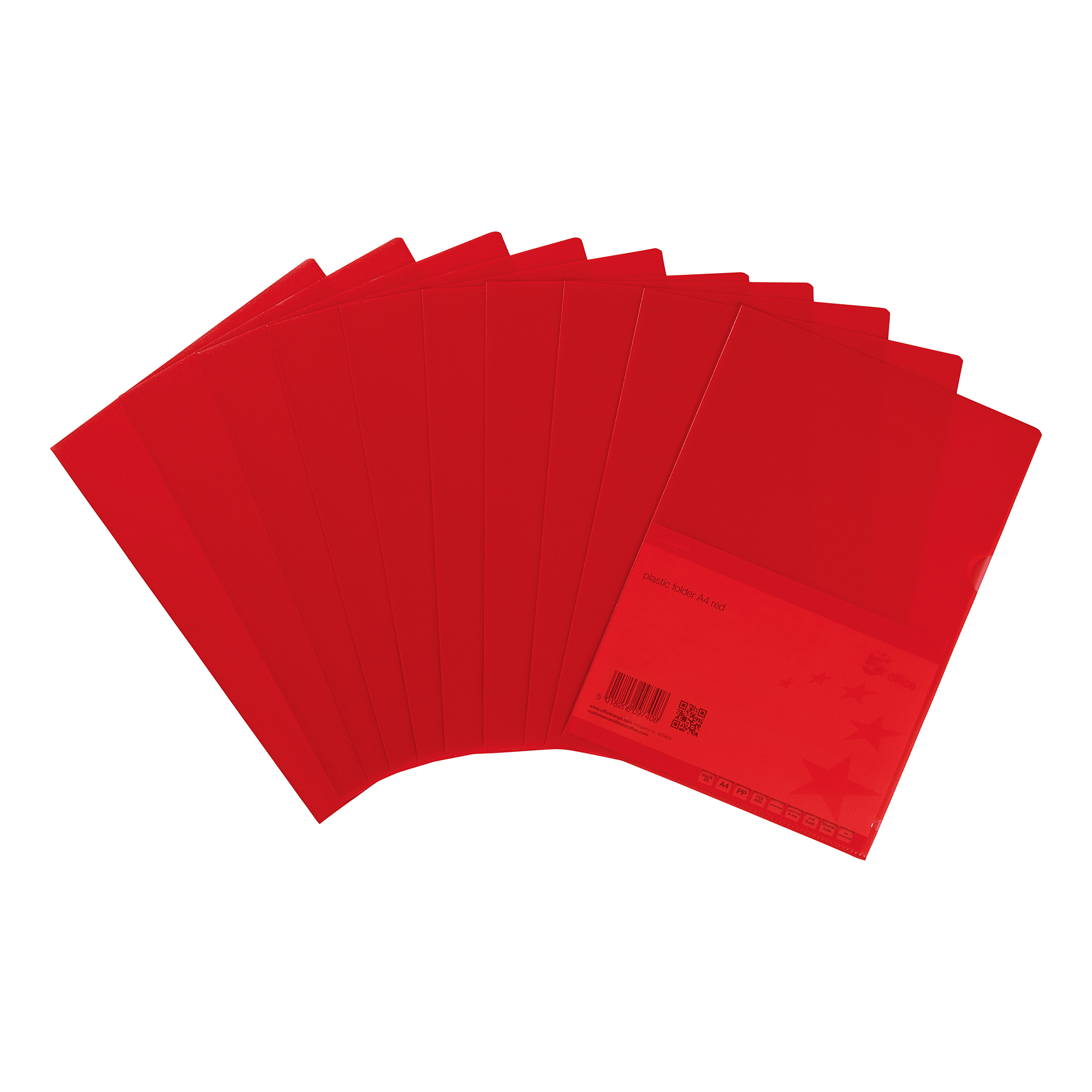 5 Star Office Folder Cut Flush Polypropylene Copy-safe Translucent A4 Red [Pack 25]