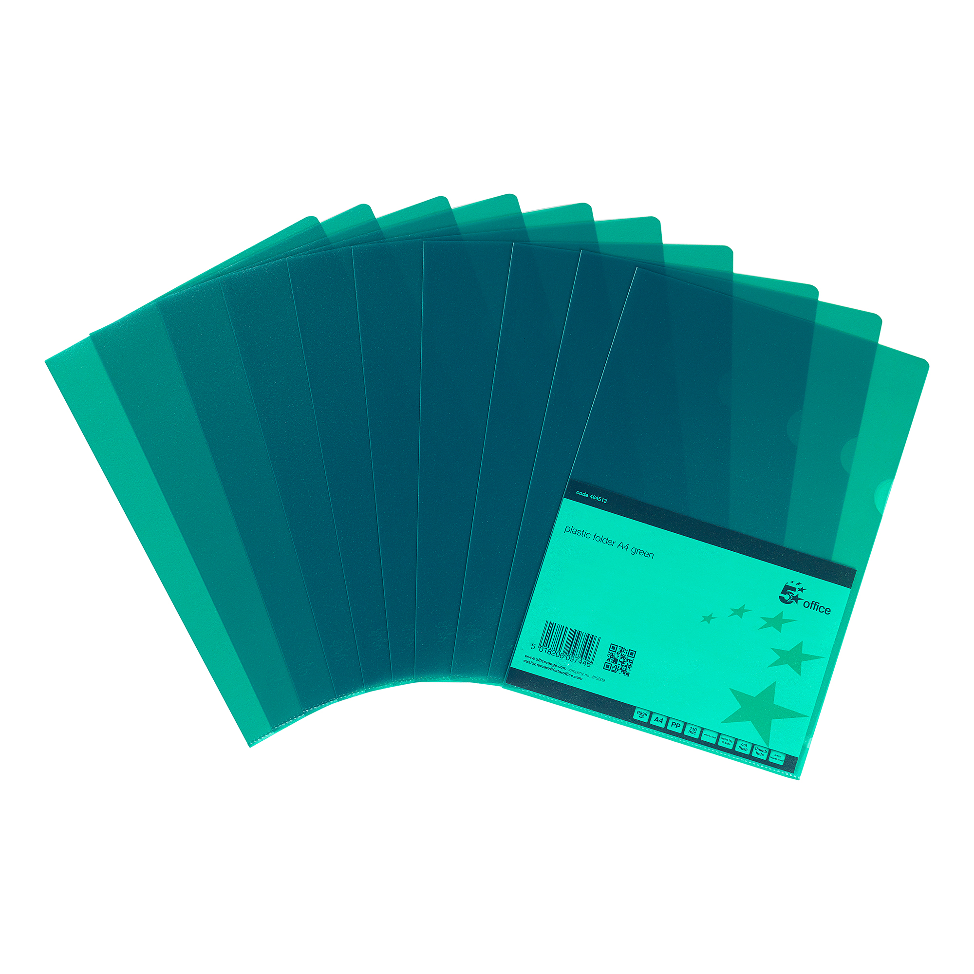 5 Star Office Folder Cut Flush Polypropylene Copy-safe Translucent 120 Micron A4 Green [Pack 25]