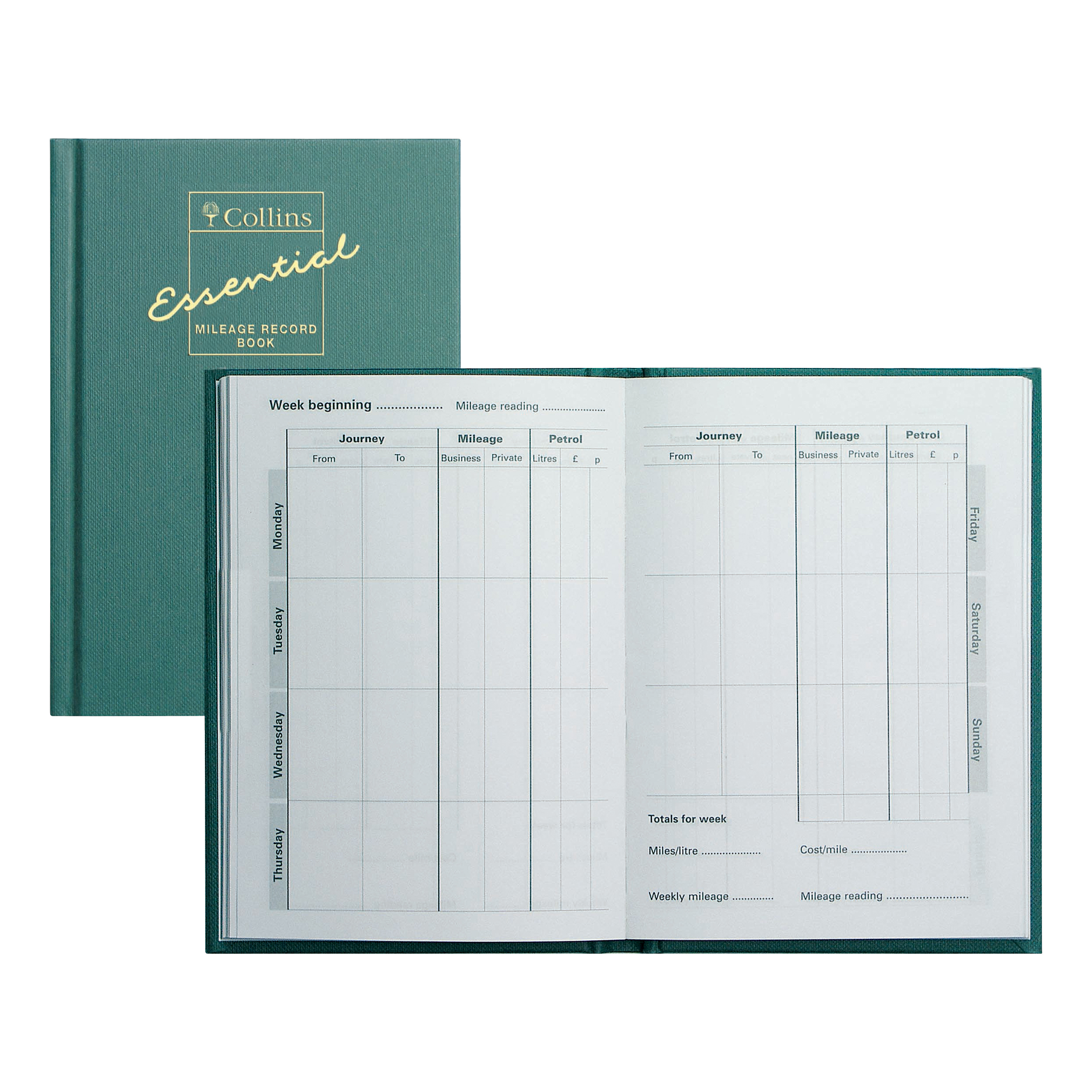 Image for Collins Mileage Record Book 60 Pages 104x149mm Green Ref MRB1