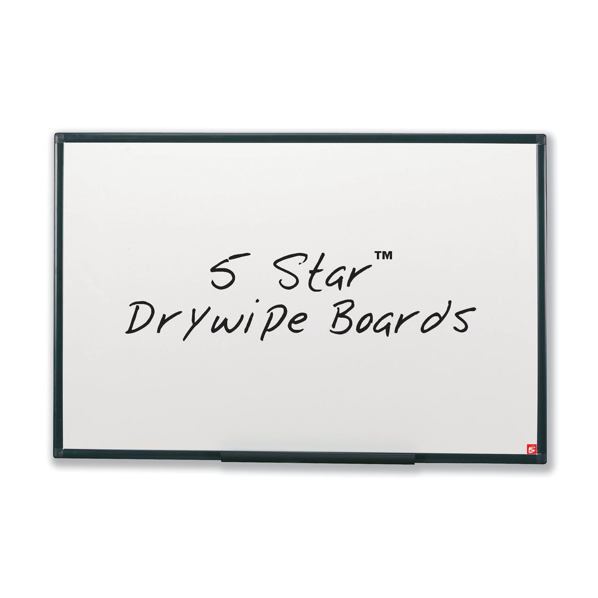5 Star Office Drywipe Board Lightweight with Fixing Kit and Detachable Pen Tray W600xH450mm