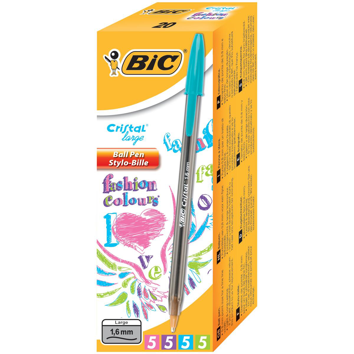 Bic Cristal Large Fashion Ball Pen Smoked Barrel 1.6mm Tip 0.6mm Line Assorted Ref 895793 [Pack 20]