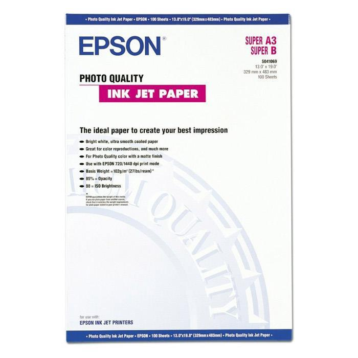 Epson Photo Quality Inkjet Paper Matt 102gsm Max.1440dpi A3plus Ref S041069 [100 Sheets]