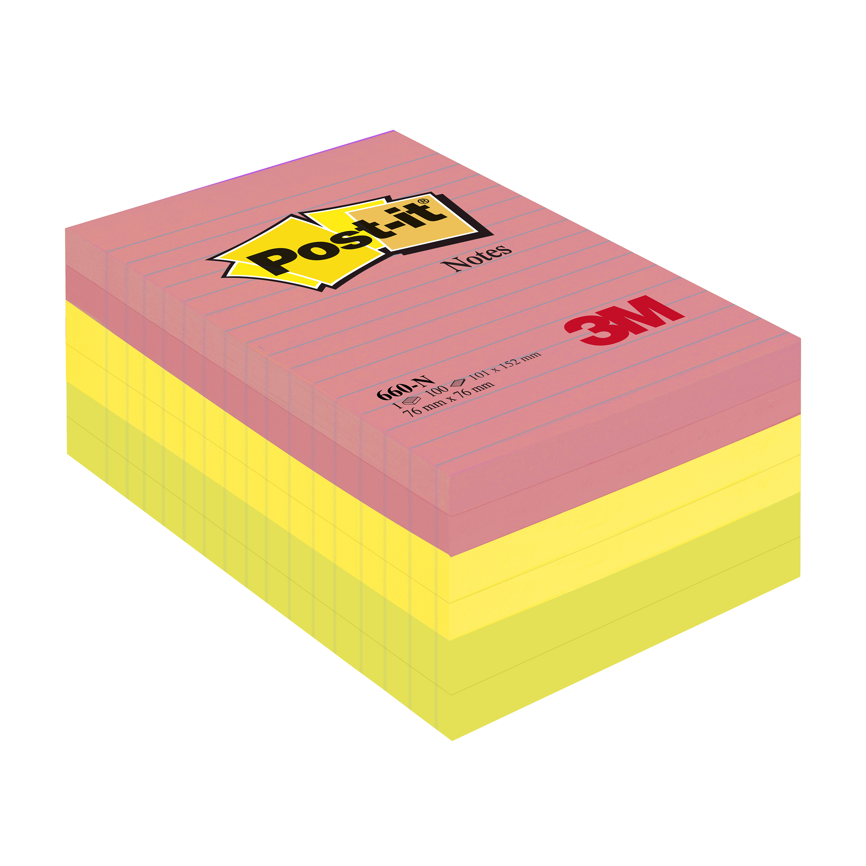 Post-it Notes Large Format Notes Feint Ruled Pad of 100 Sheets 101x152mm Rainbow Colour Ref 660N [Pack 6]
