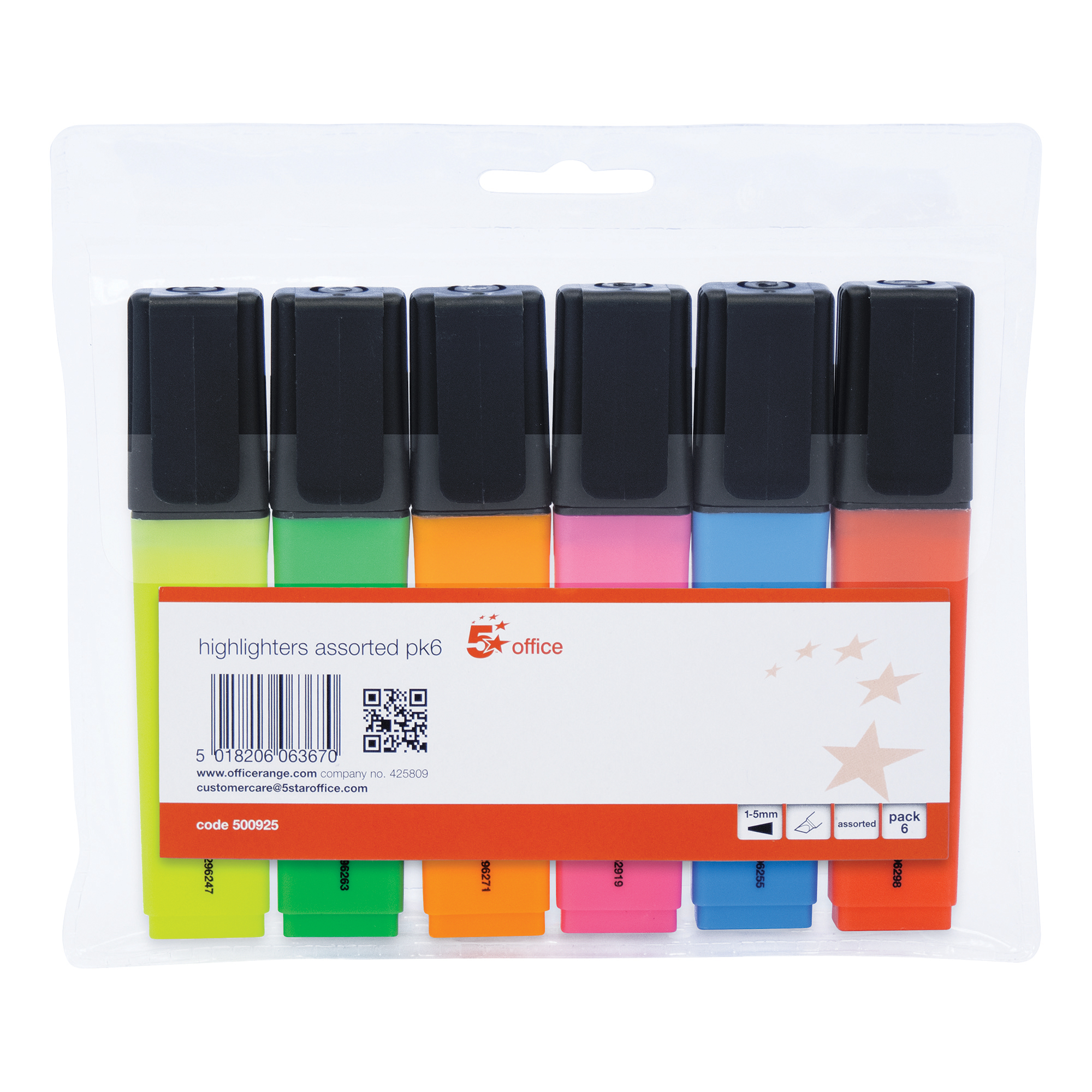 5 Star Office Highlighter Chisel Tip 1-5mm Line Wallet Assorted [Pack 6]