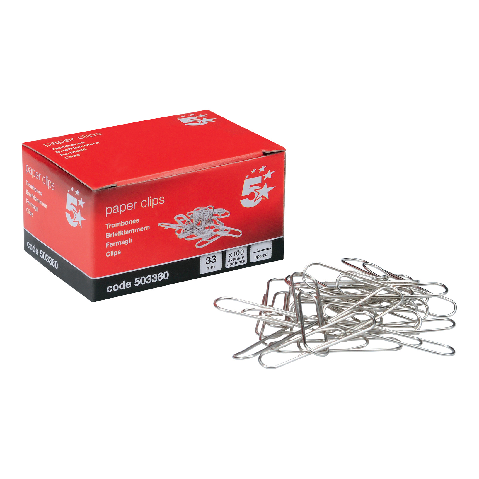 5 Star Office Paperclips Metal Large 33mm Lipped [Pack 10x100]