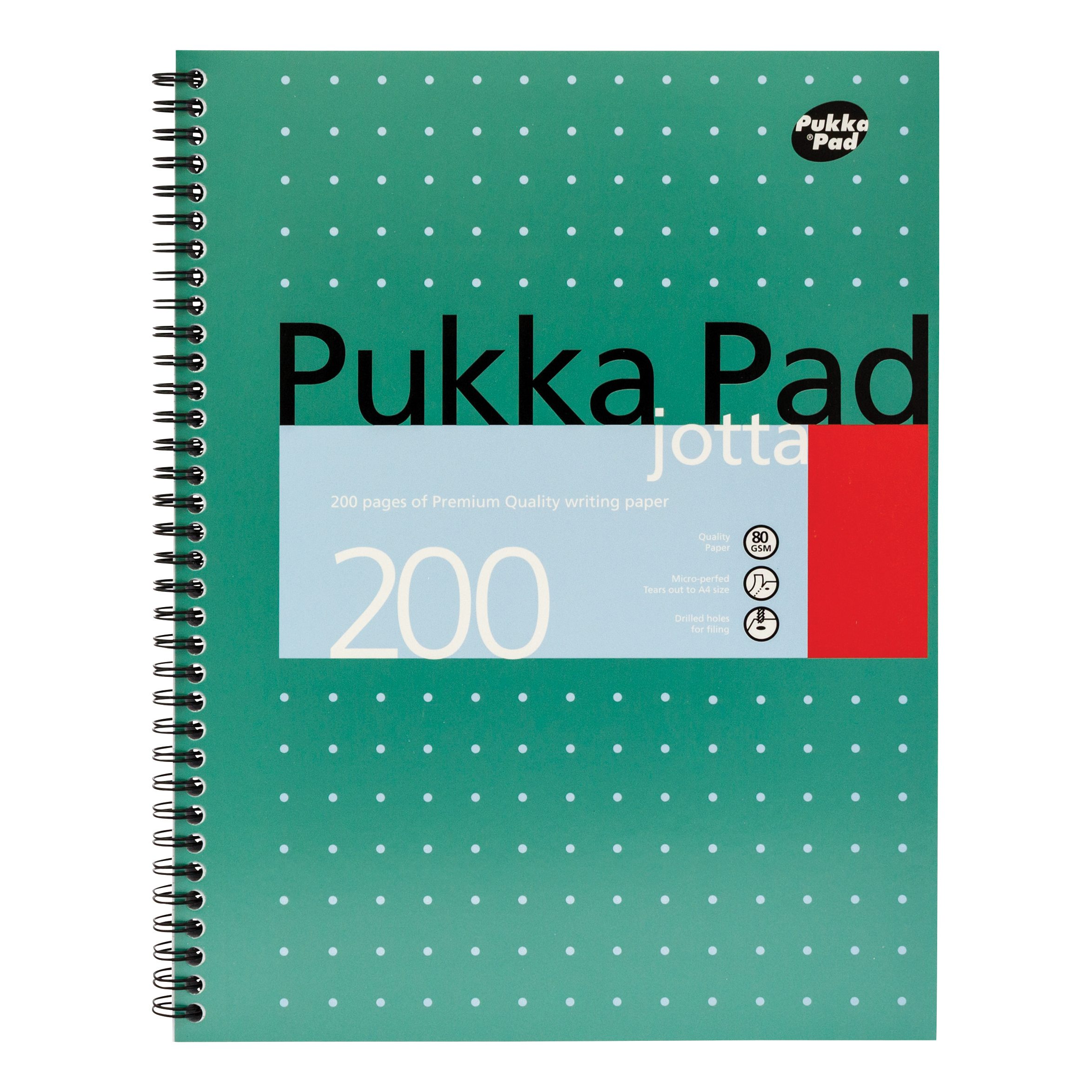Pukka Pad Mettallic Jotta Nbk Wirebound 80gsm Ruled Margin Perf Punch 4 Hole 200pp A4+ Ref JM018 [Pack 3]