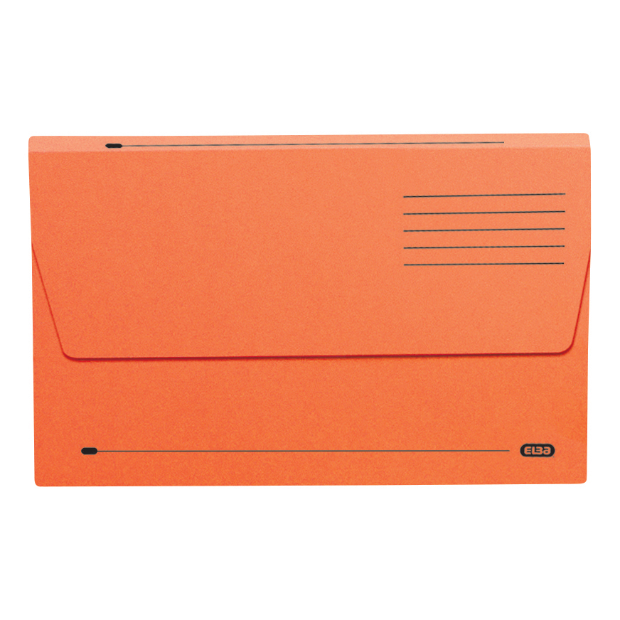 Elba Document Wallet Half Flap 310gsm Capacity 30mm Foolscap Orange Ref 100090241 [Pack 50]
