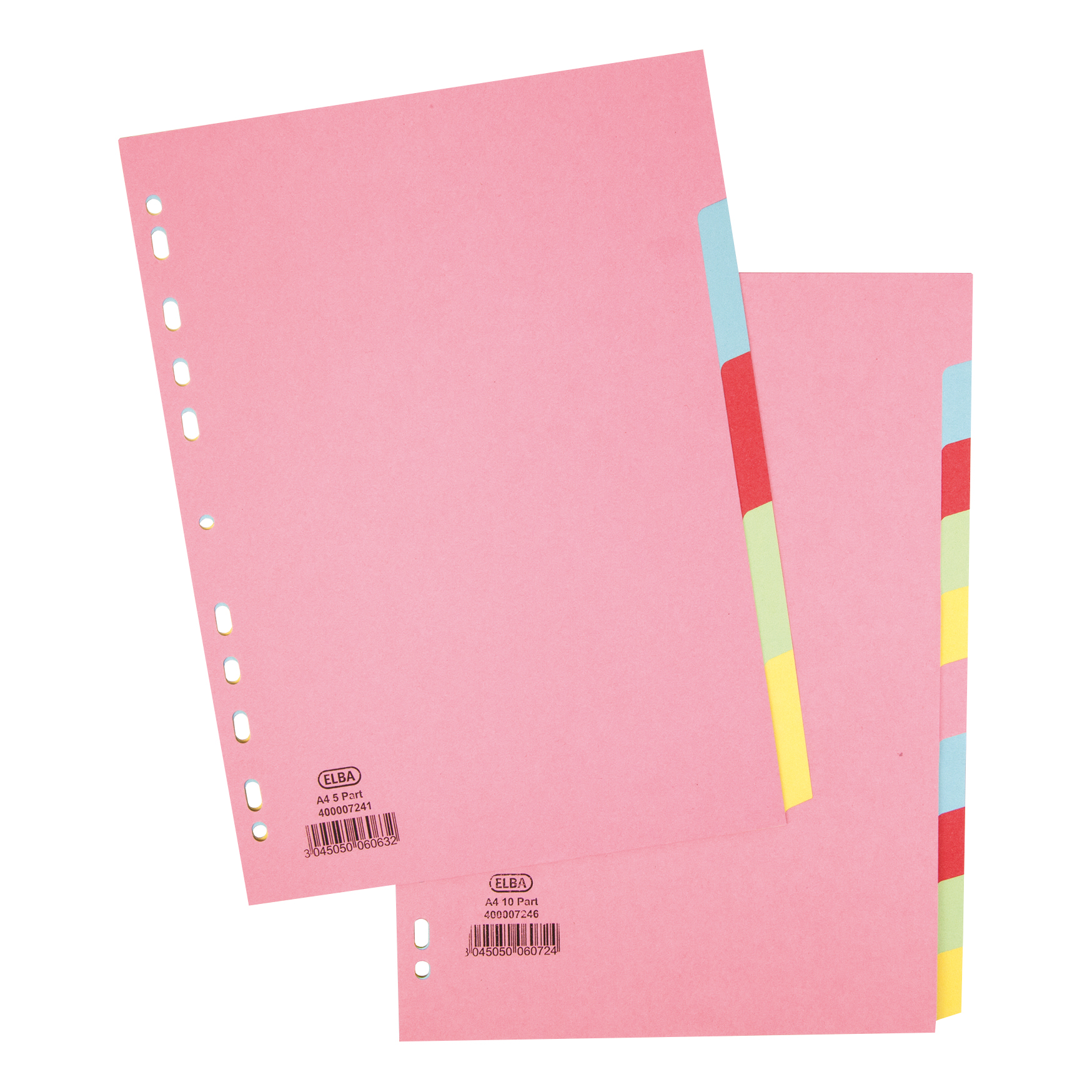Image for Elba Subject Dividers 5-Part Card Multipunched Recyclable 160gsm A4 Assorted Ref 400007241
