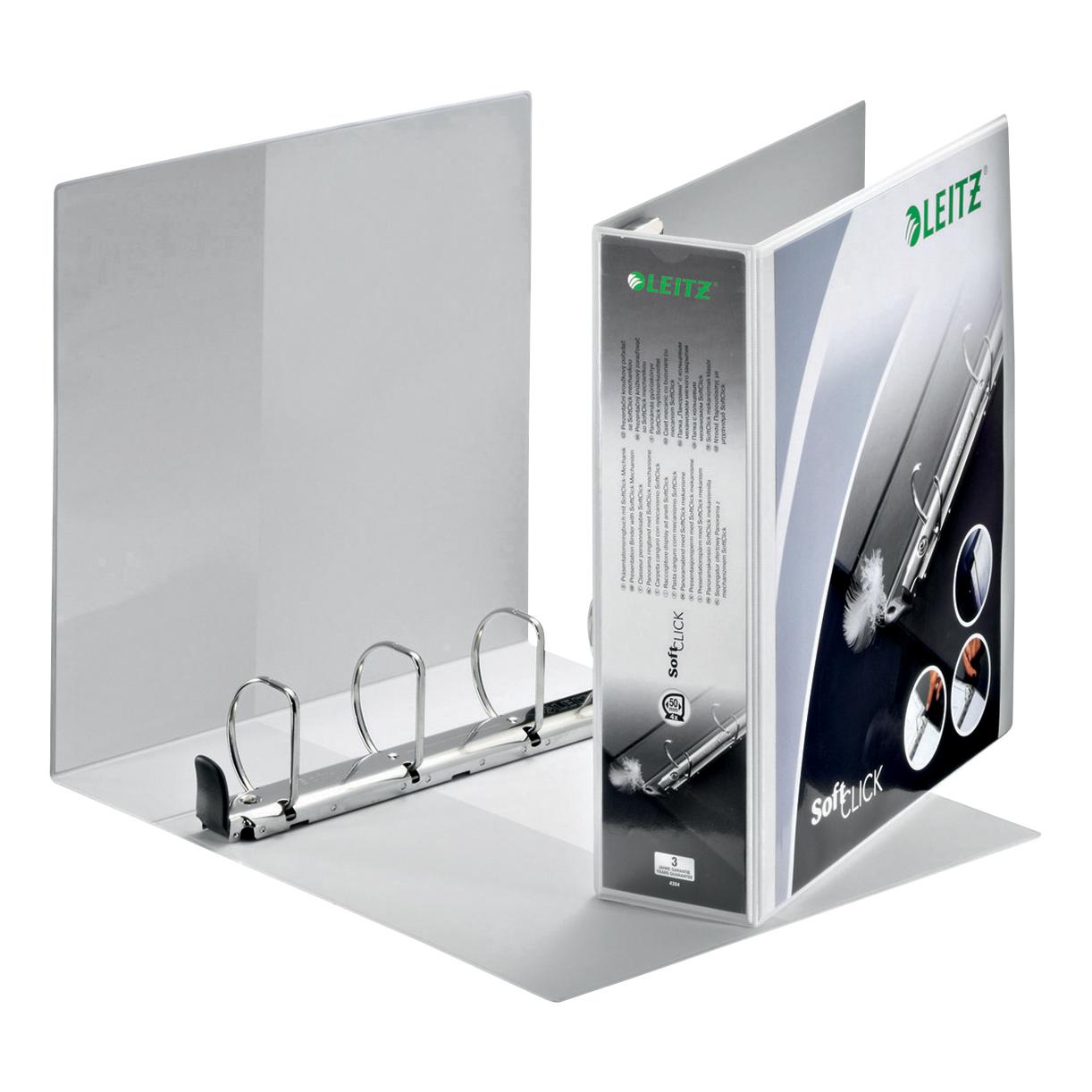 Leitz Softclick Presentation Ring Binder Polypropylene 4 D-Ring 50mm A4 White Ref 42040001 [Pack 4]