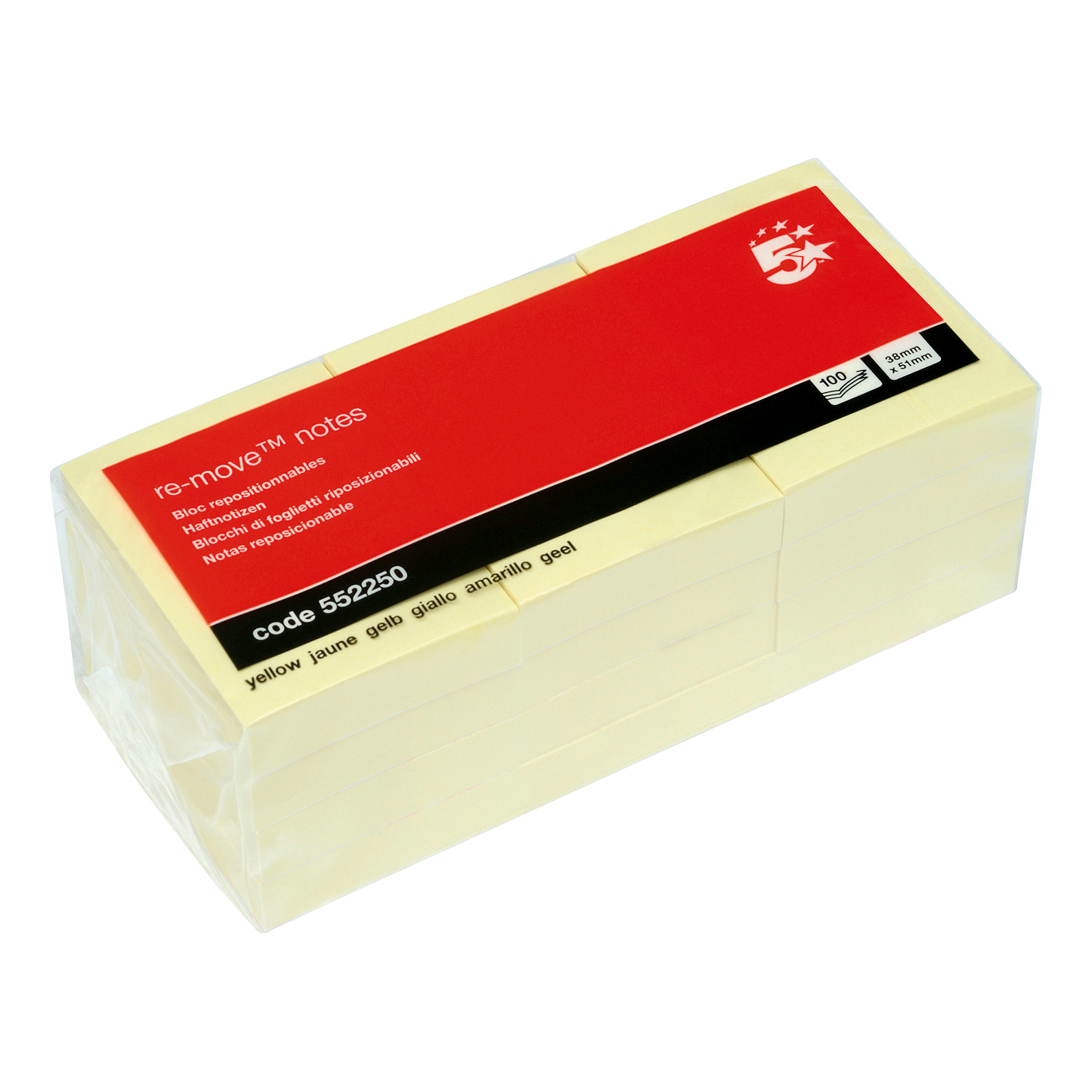 100 Sheets Per Pad 2 x Notes Canary Yellow 12 Pads 653E 38 x 51 mm