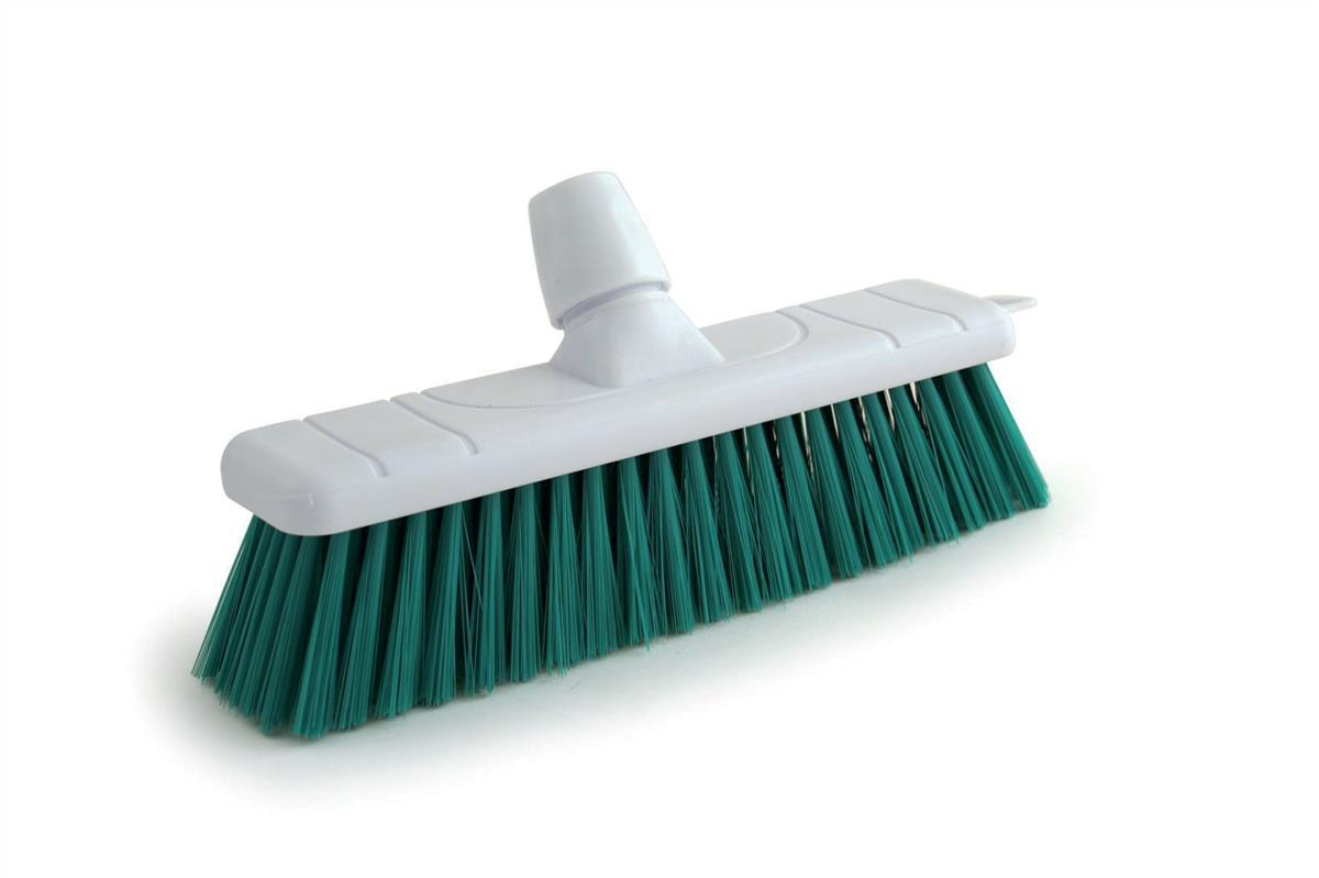 Image for 12 Inch Hard Bristle Broom Head White and Green (Pack of 1) P04053
