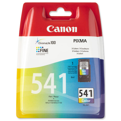 Canon CL-541 Inkjet Cartridge Page Life 180pp 8ml Tri-Colour Ref 5227B005