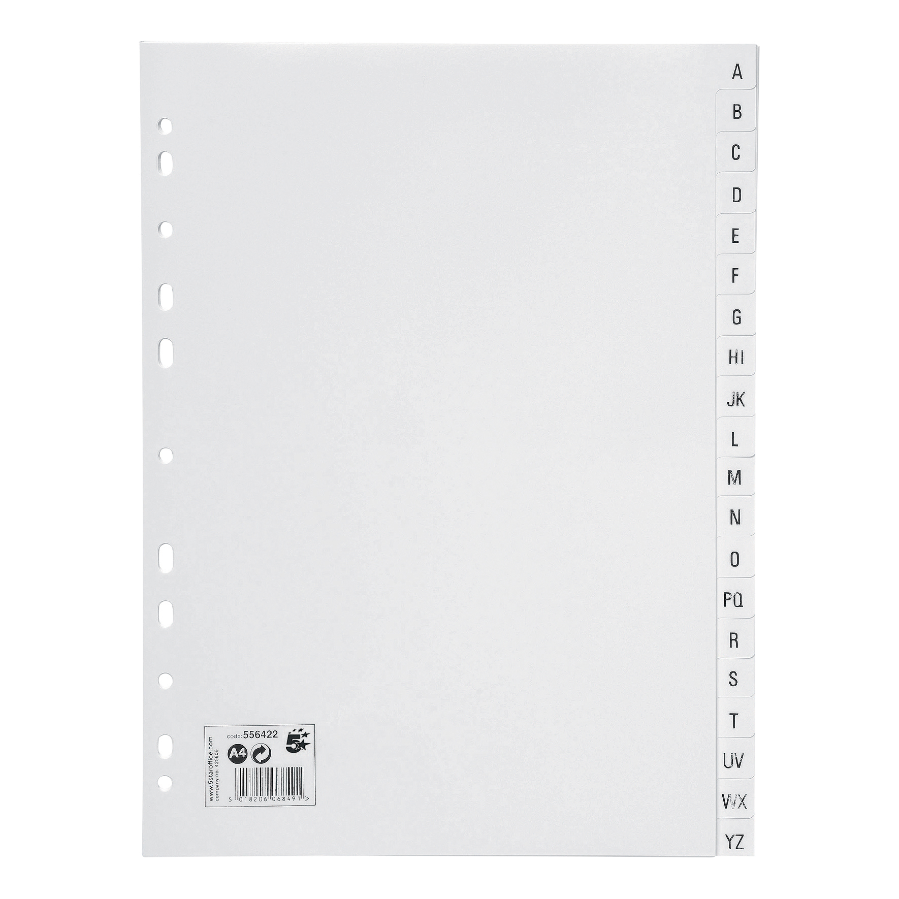 5 Star Office Index A-Z 20-Part Polypropylene Multipunched Reinforced Holes 130 Micron A4 White