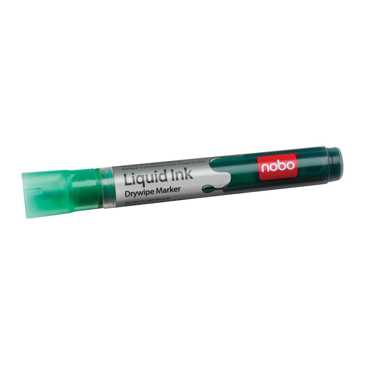 Nobo Liquid Ink Drymarker Drywipe Flipchart OHP Bullet Tip Line Width 3mm Green Ref 1901076 [Pack 12]