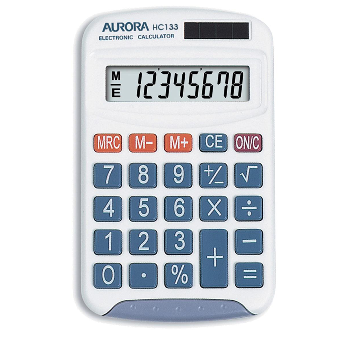 Image for Aurora Handheld Calculator 8 Digit 3 Key Memory Solar and Battery Power 70x15x115mm White Ref HC133
