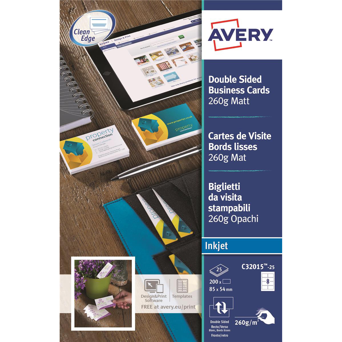 Avery quick and clean business cards inkjet 260gsm 8 per sheet matt avery quick and clean business cards inkjet 260gsm 8 per sheet matt coated ref c32015 reheart Image collections