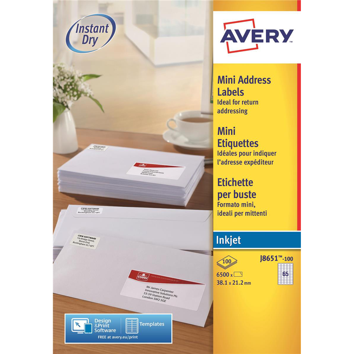 Avery J8651-100 Self-Adhesive Mini Organising/Return Address Labels, 65 Labels Per A4 Sheet