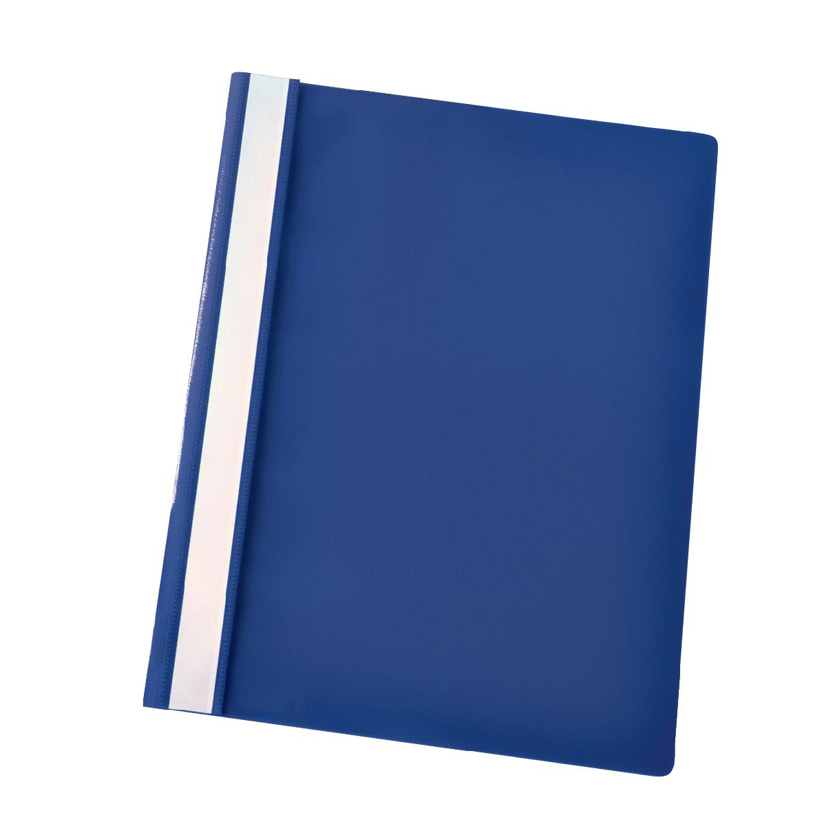 Esselte Report Flat File Lightweight Plastic Clear Front A4 Dark Blue Ref 28315 [Pack 25]