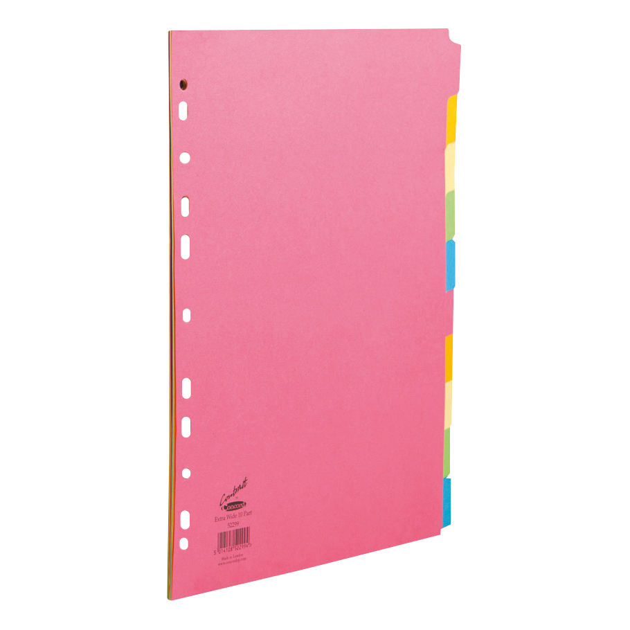 Concord Contrast Subject Dividers Europunched 10-Part Extra Wide A4 Assorted Ref 52299